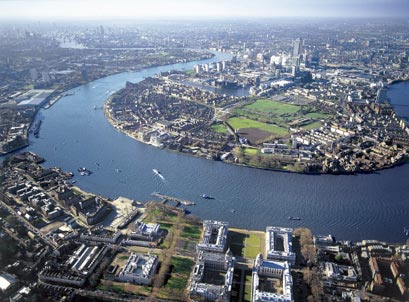 Isle of Dogs (upper part of photo), which is across the Thames from Greenwich (Royal Naval College is at bottom of photo)