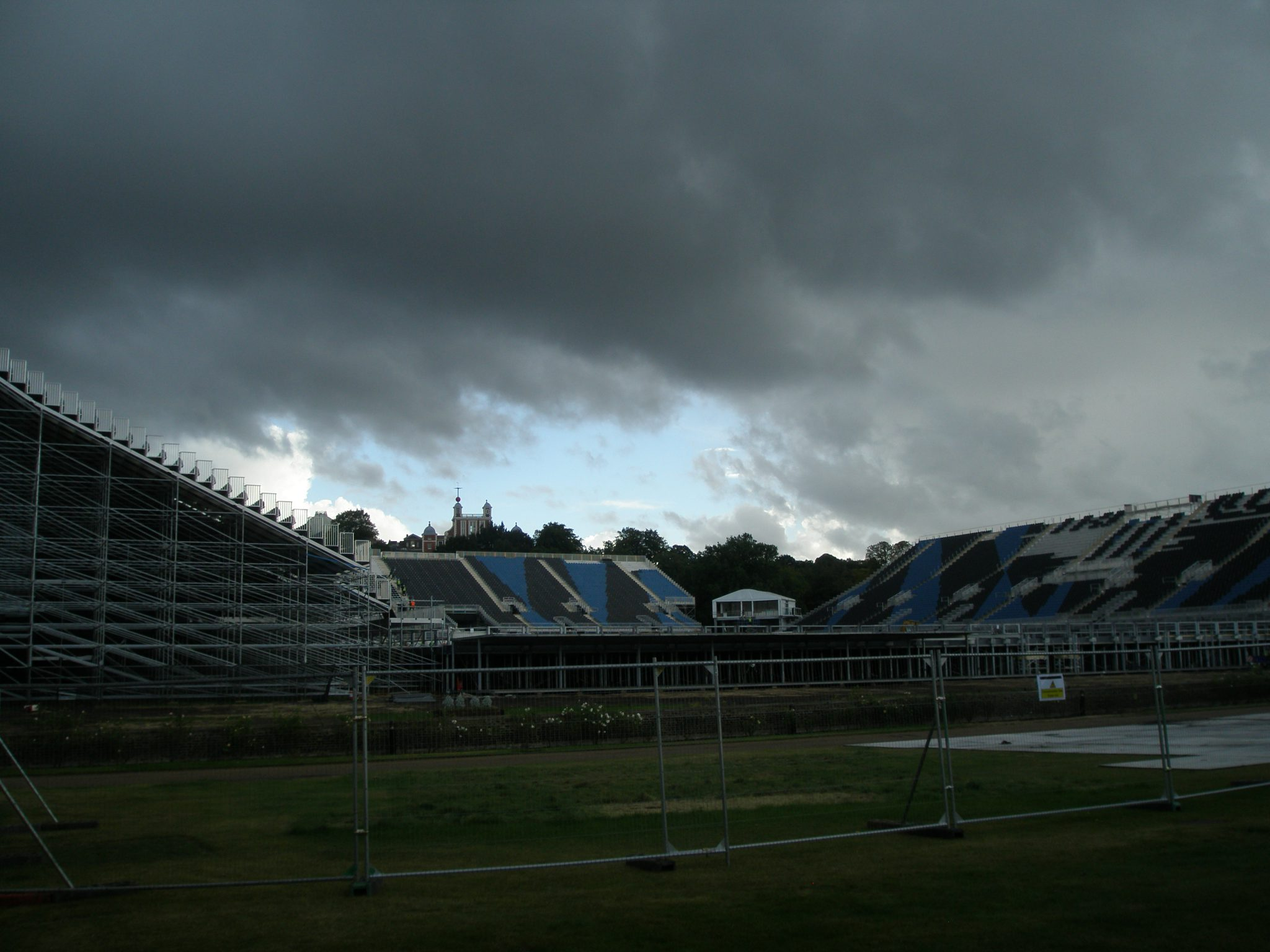 Temporary Grandstands, with the Royal Observatory on the crest of the hill, in the distance