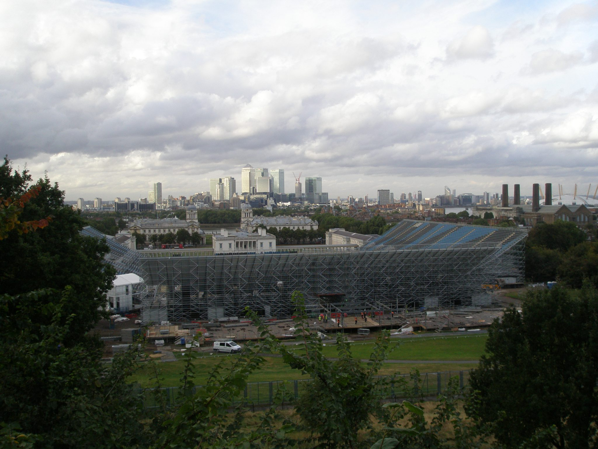 Olympic Grandstands, with The Queen's House, Old Royal Naval College, The Thames & Canary Wharf in the distance