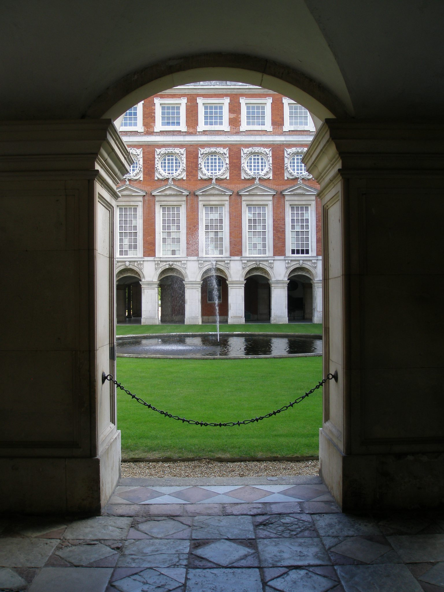 View from the Communication Gallery into the Fountain Court, part of Christopher Wren's addition to Henry VIII's old palace
