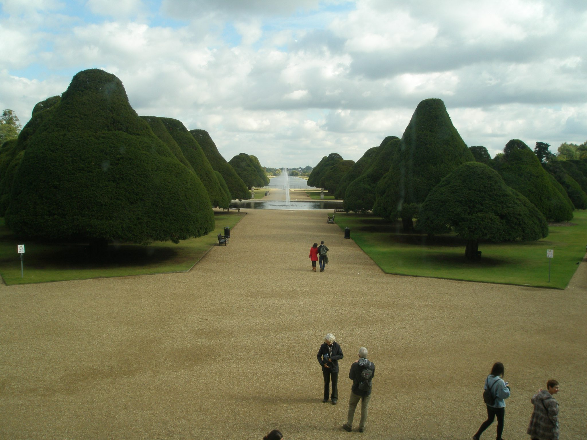 View of the Great Fountain Garden, with the straight expanse of the Long Water in the distance