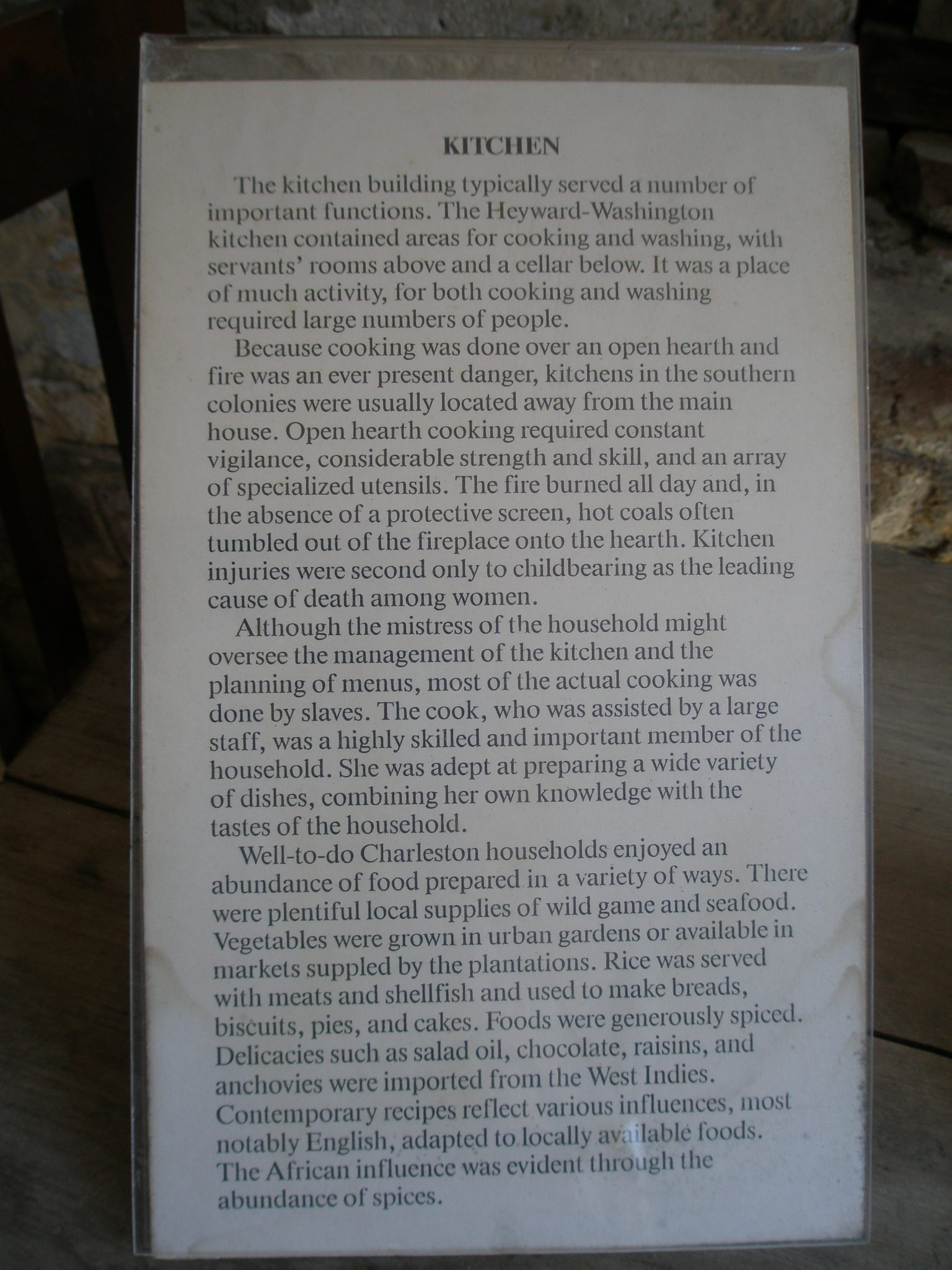 Explanatory notes about the Kitchen