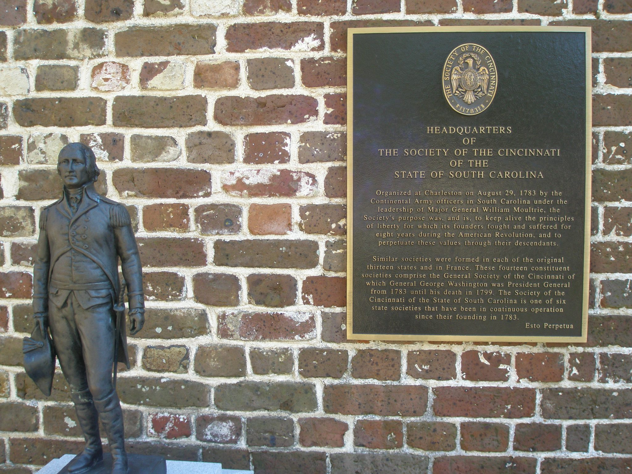 The Society of the Cincinnati has planted its flag at the Heyward-Washington House.