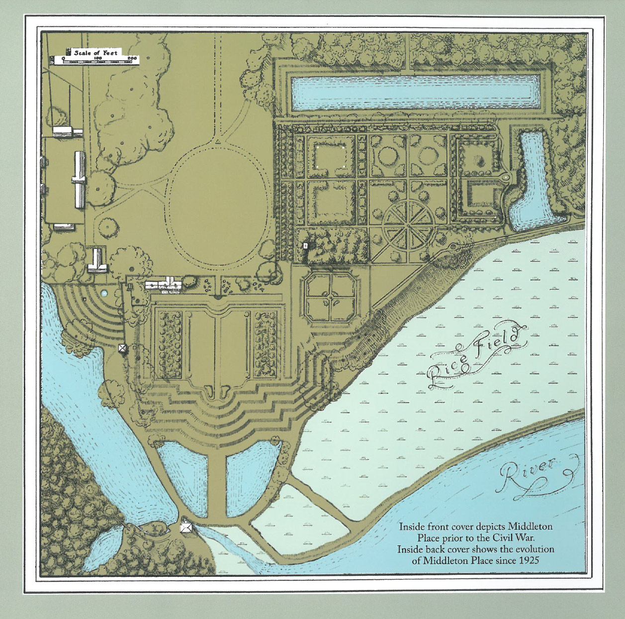 The Plan of Middleton Place's Garden, as it has been since 1925. Image courtesy of the Middleton Place Foundation.