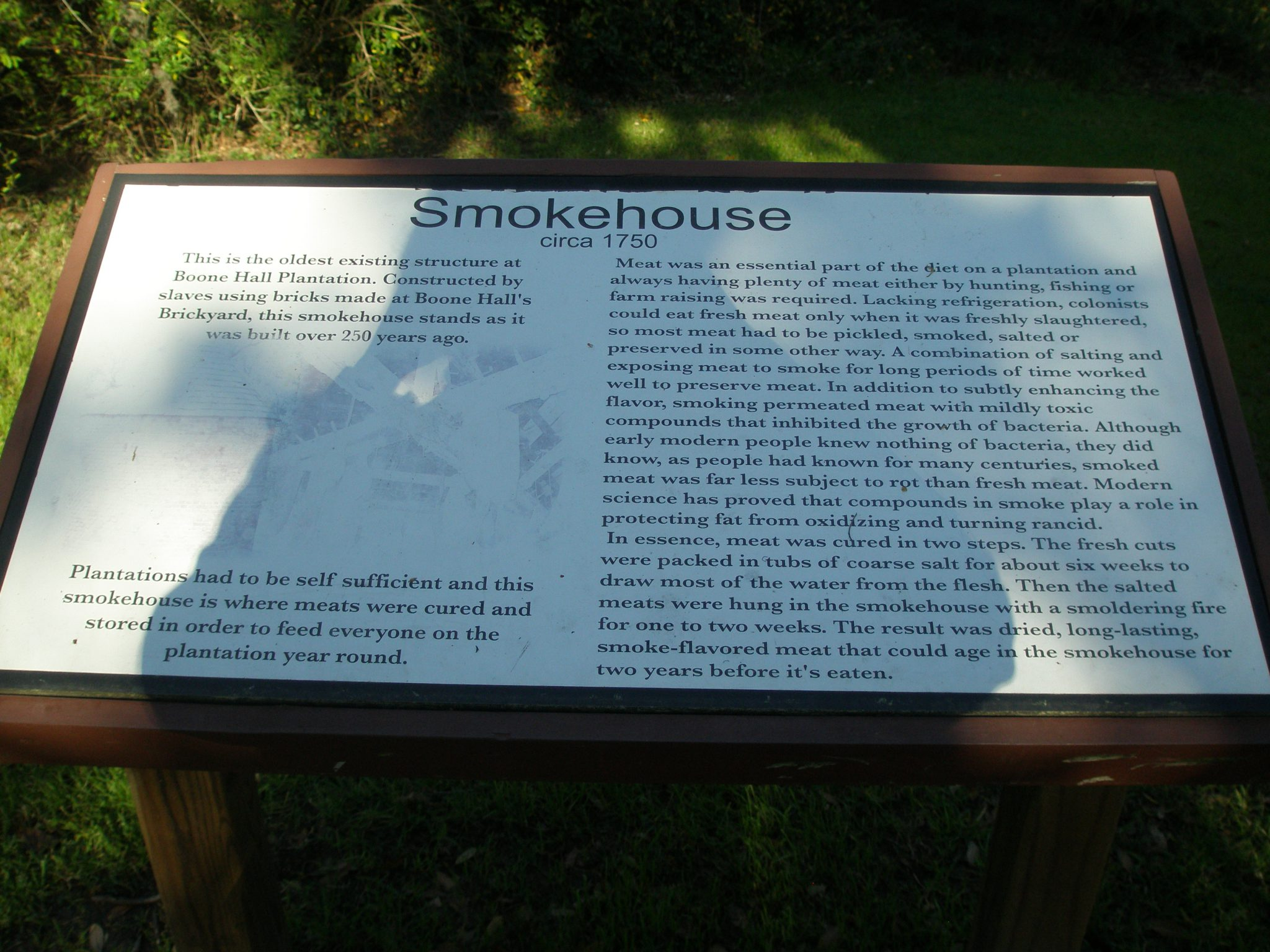 Smokehouse Plaque...with the Photographer's Shadow