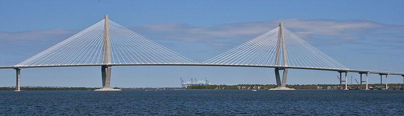 The Ravenel Bridge, with a main span of 1546 feet, is the third-longest cable-stayed bridge in the Western Hemisphere.