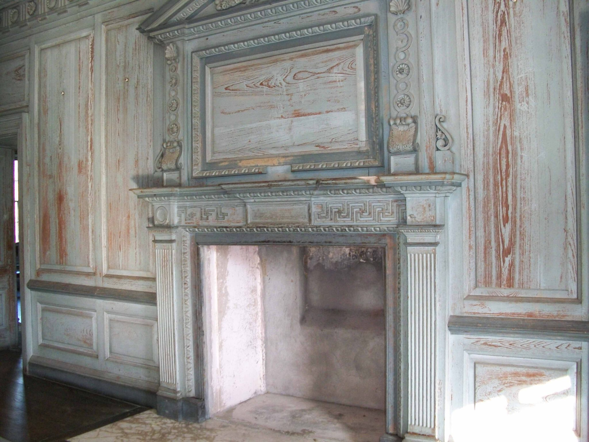 The paint on the walls of The Great Hall's paneling is being preserved with cutting-edge techniques. Image courtesy of South Carolina Pioneers.