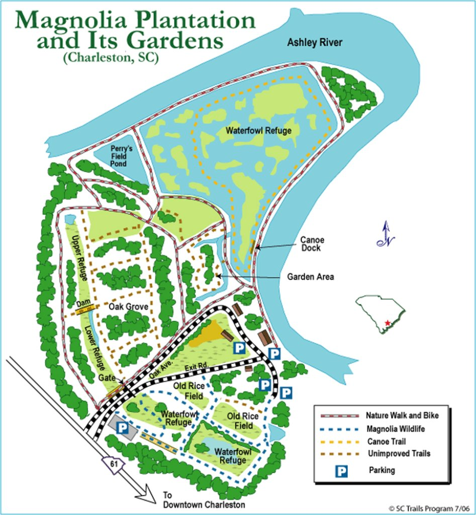 "The Gardens themselves are barely represented on this map. Within the ""Garden Area"" are many lakes , a Camellia Garden, and the Audubon Swamp Garden. This map is only worthwhile because it shows the relation of Magnolia Plantation to the Ashley River, which curls around Magnolia's 390 acres."