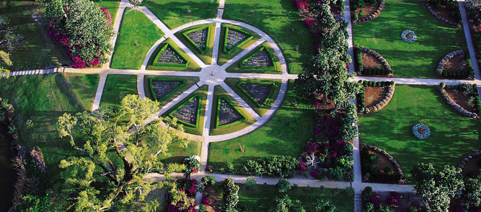 A FAR BETTER VIEW of the Sundial Rose Garden. Image courtesy of the Middleton Place Foundation.