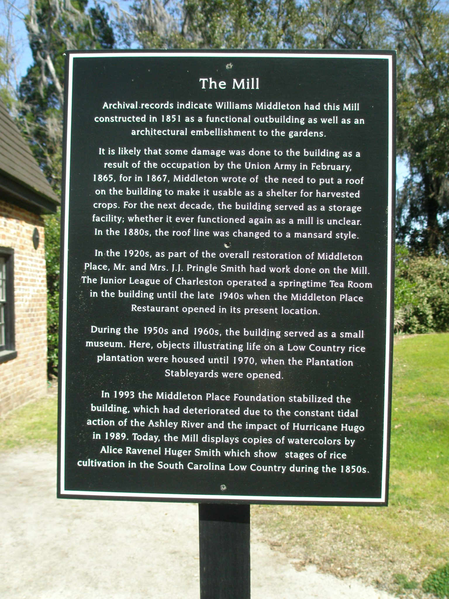 Plaque at The Mill