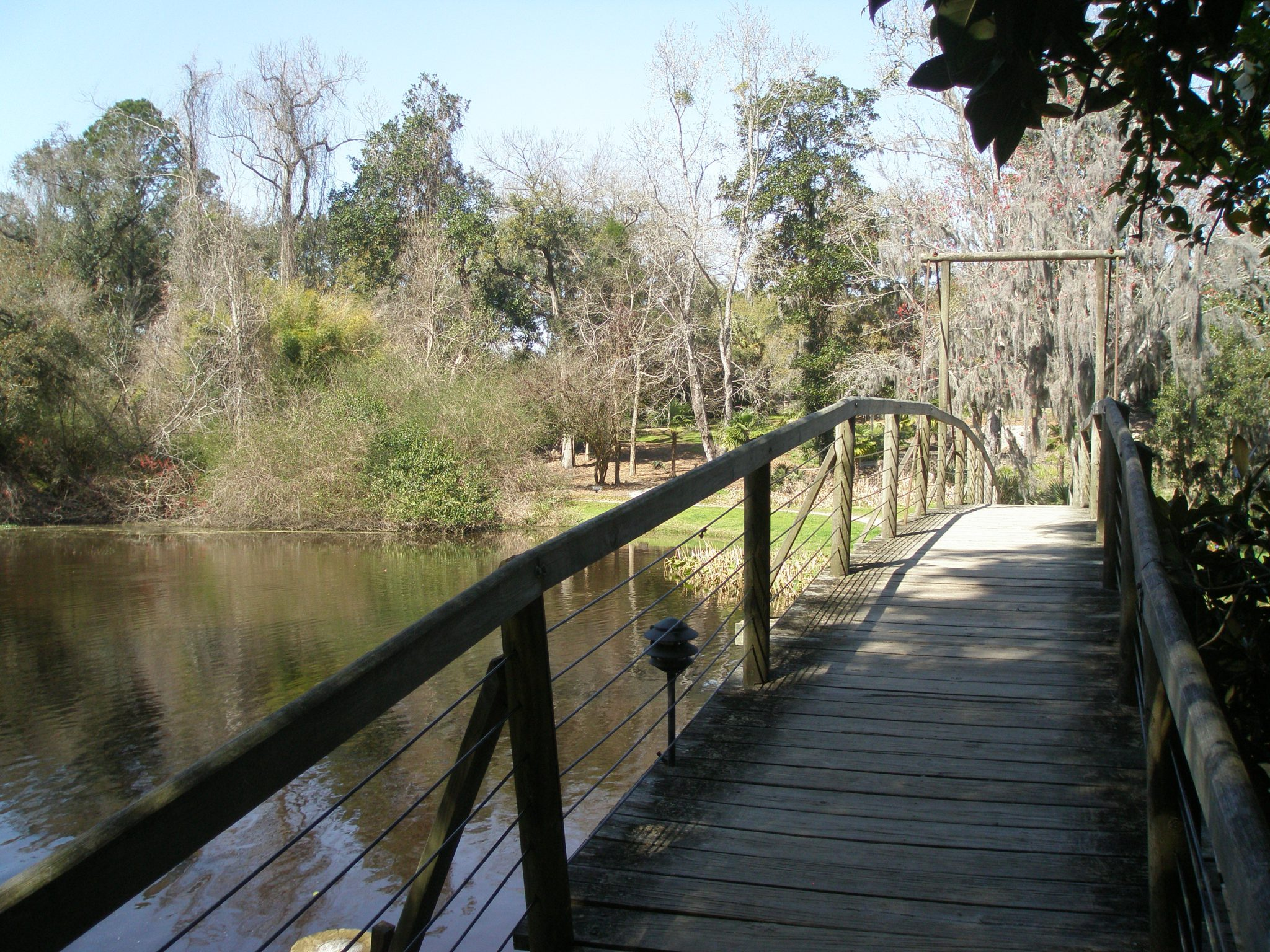 Bridge at the end of the Azalea Walk, over the Mill Pond, and headed toward the Restaurant.