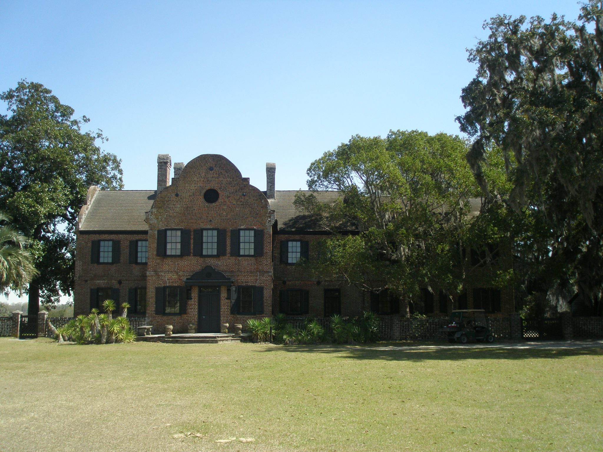 Remaining Original Structure, which faces the Sheep Meadow. This structure was the South-Flanker, one of two dependencies that were alongside the Main House. Today, this building is the House Museum, where generations'-worth of Middleton family possessions are displayed.