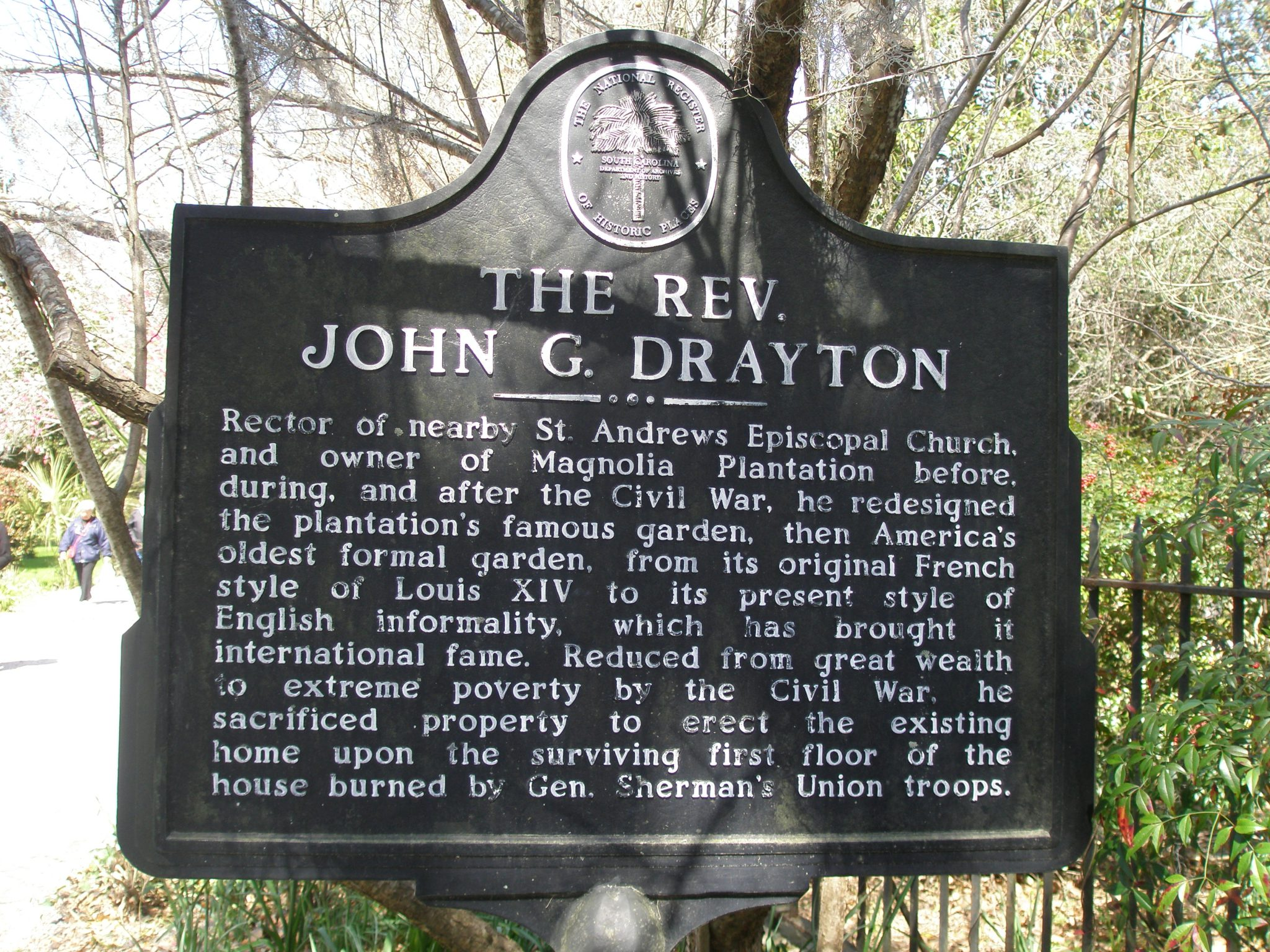 Plaque at entry to Magnolia Plantation & Gardens