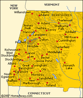 Map of the Berkshire Hills of Western Massachusetts
