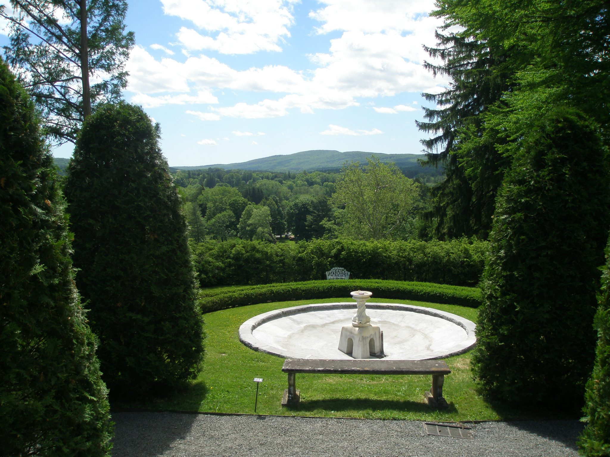 Nathan Barrett's Evergreen Garden; with view toward the Western hills.