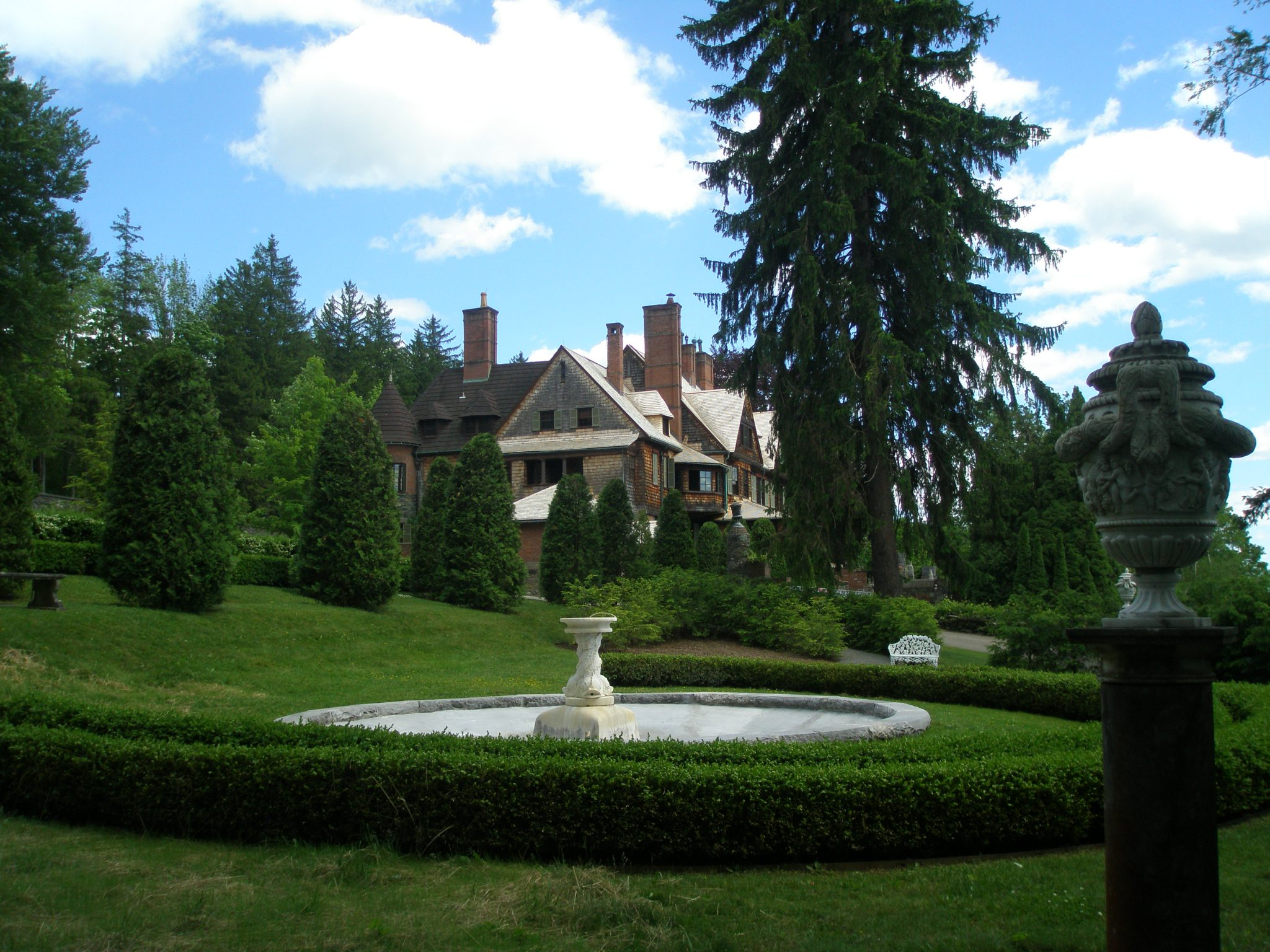 Evergreen Garden; with view of House