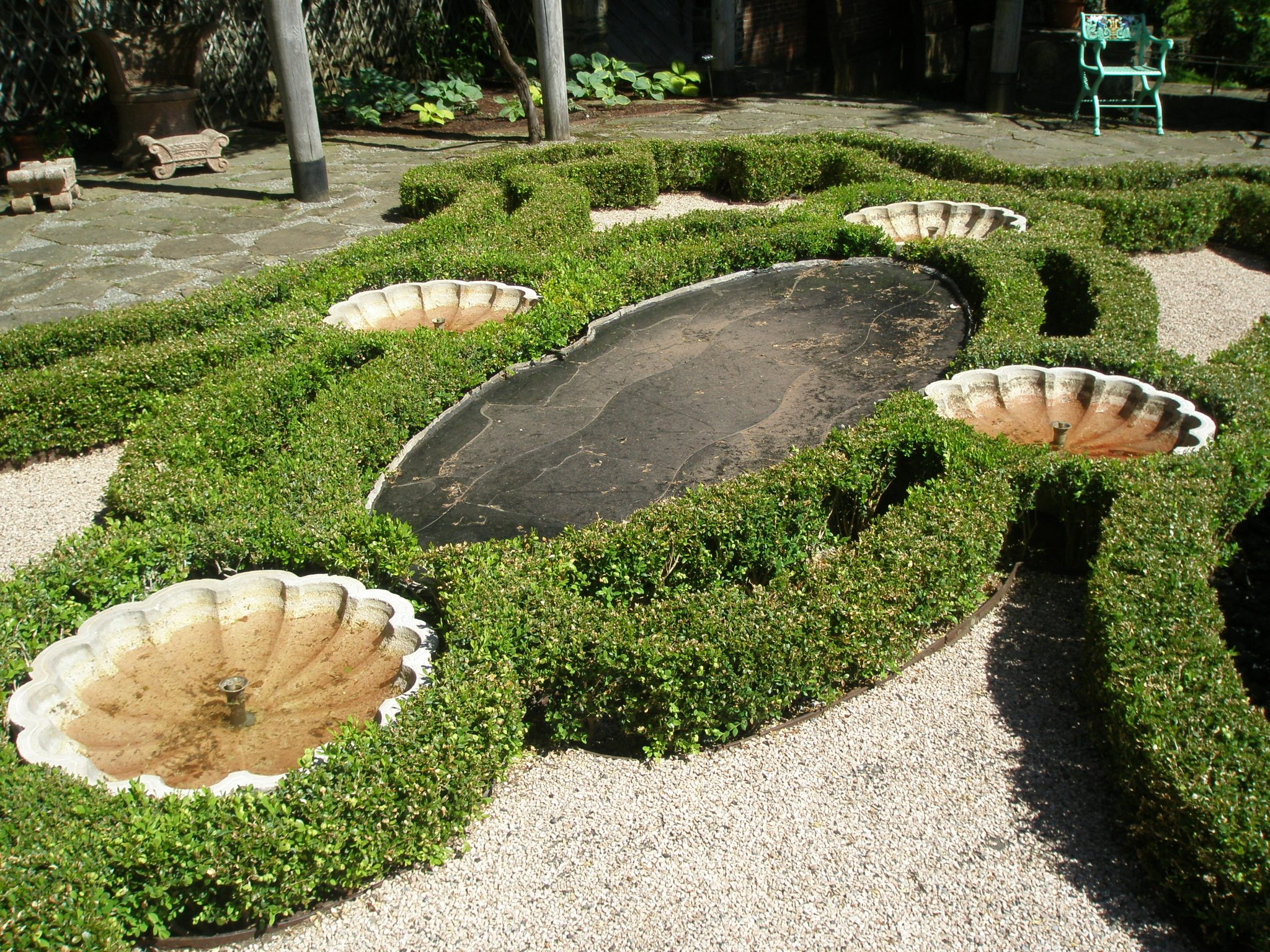 The currently-dry pools and fountains in the Afternoon Garden