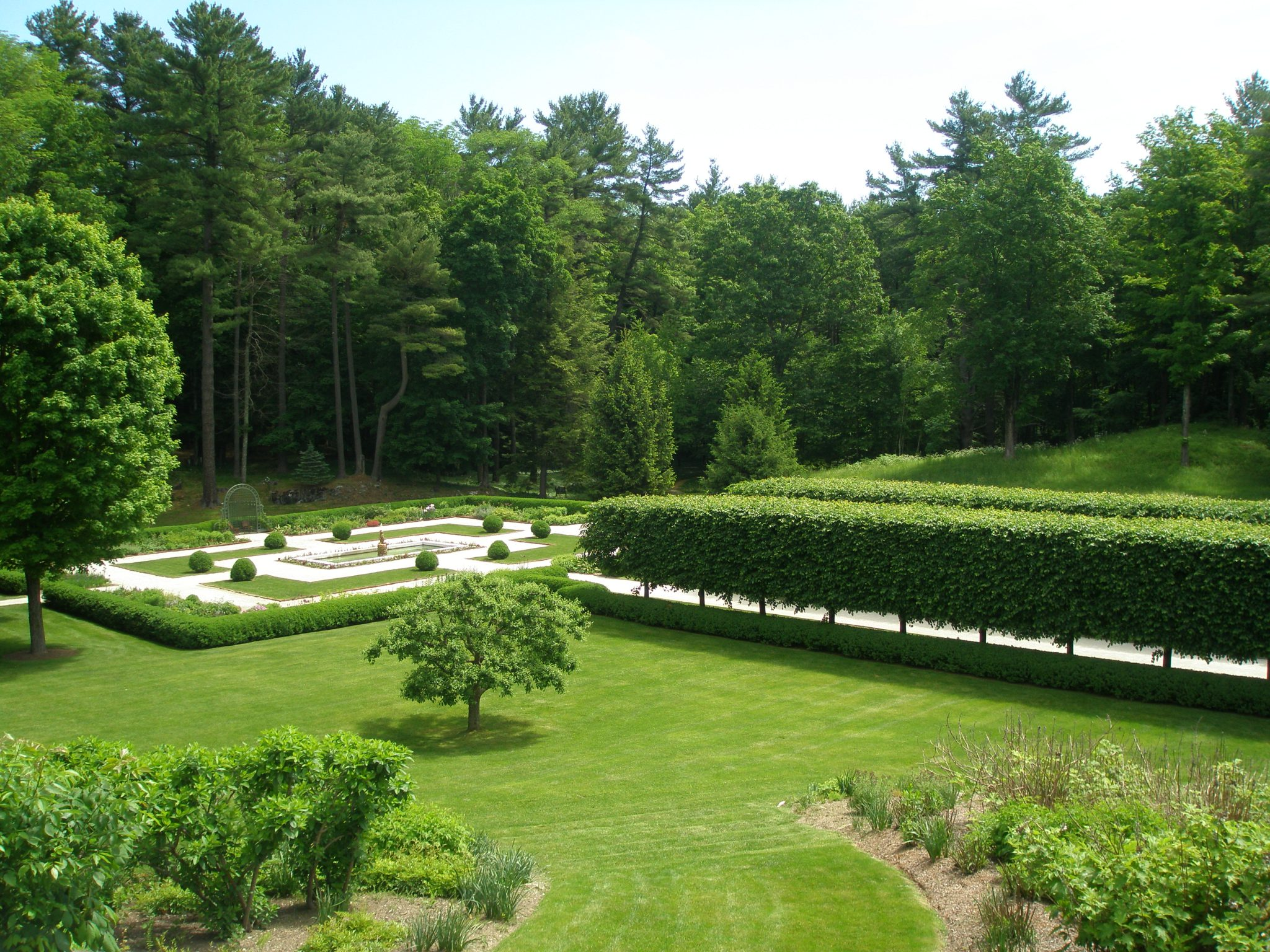View from Terrace, down over the Rock Garden's Grass Steps, toward the Flower Garden, and The Lime Walk