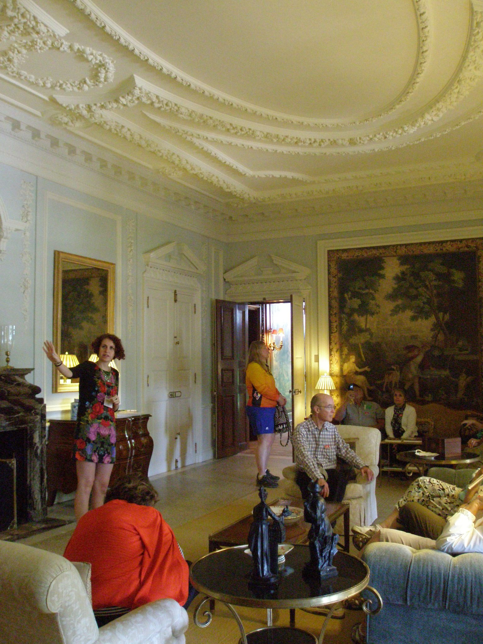 Another view of the Drawing Room, which has the most elaborate ceiling treatment of all of the house's rooms. Our Guide is holding forth, in front of the fireplace. She was vivacious, charming and FULL of information about Mrs. Wharton and her home.