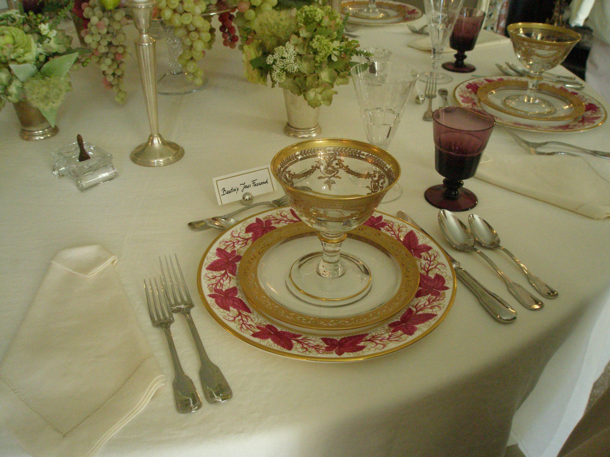 Place setting on the round Dining Room table