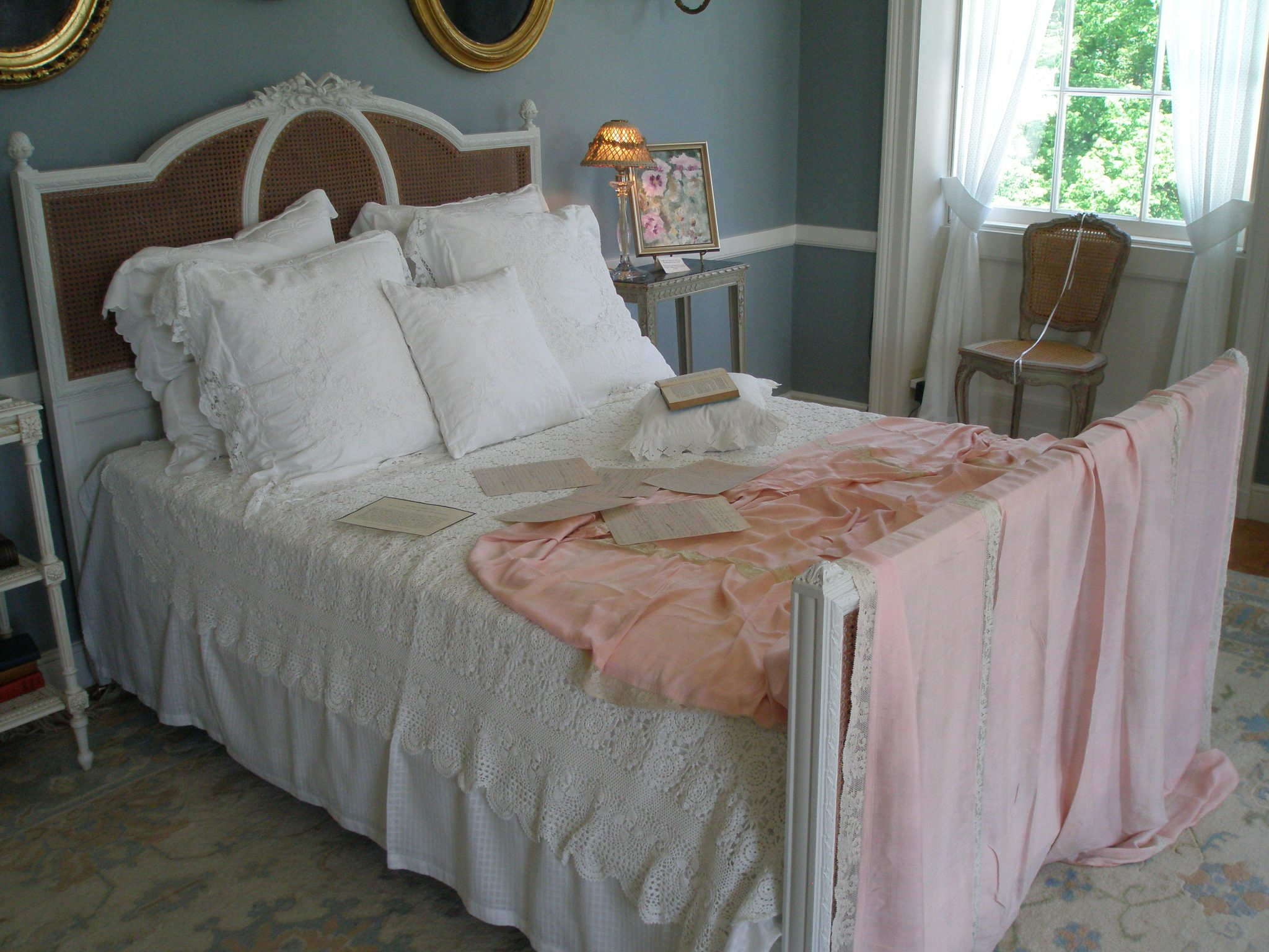 Edith Wharton's Bed (imagined by today's interior designers)...which seems almost to be awaiting her.