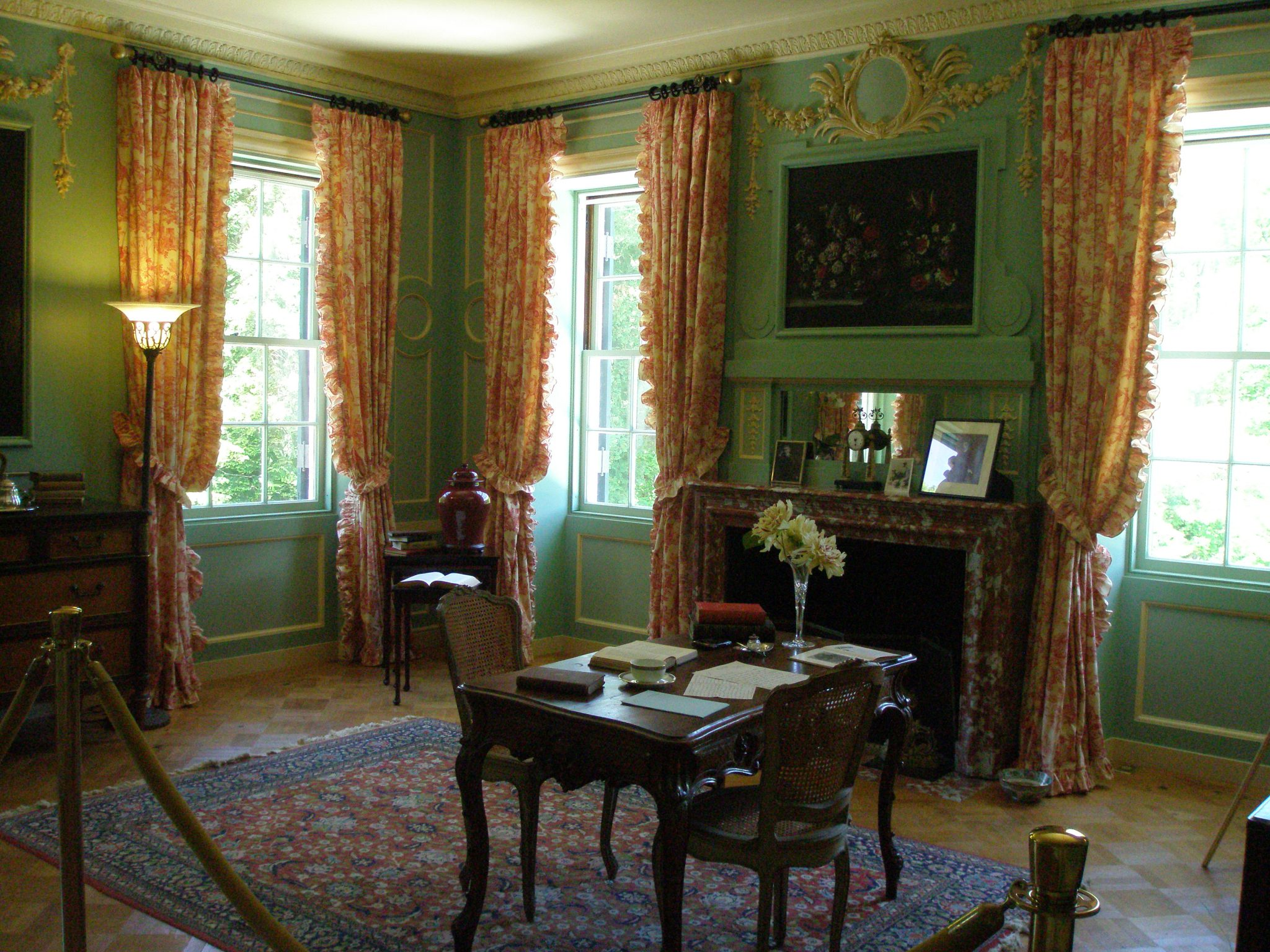 Edith Wharton's Boudoir--or Sitting Room, which is on the Bedroom Floor. The Boudoir was designed by Odgen Codman, Jr., and is the most elaborately-outfitted room on the Bedroom Floor.