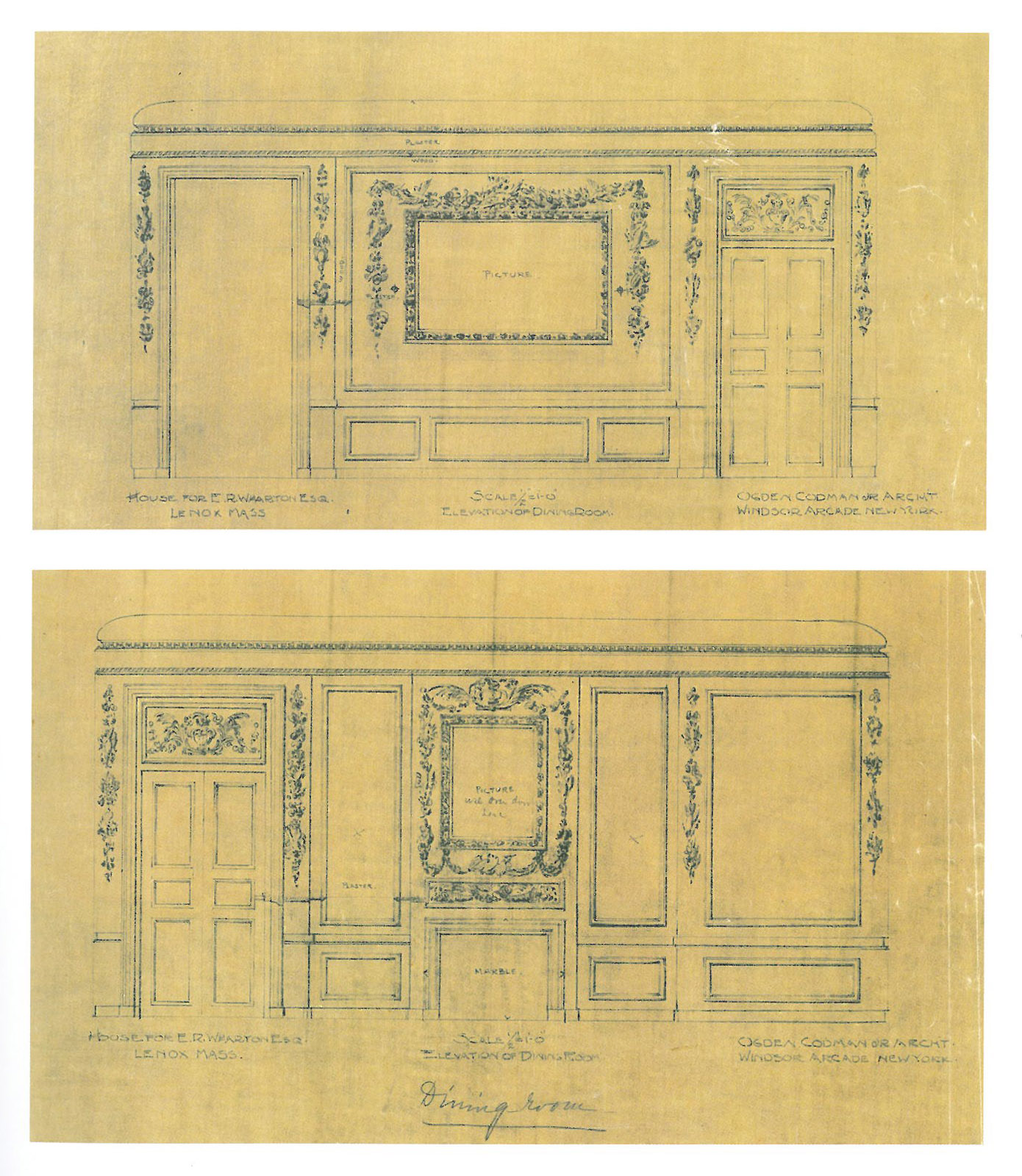 "Elevations for the Dining Room. Image courtesy of ""Edith Wharton at Home: Live at The Mount,"" by Richard Gus Wilson."