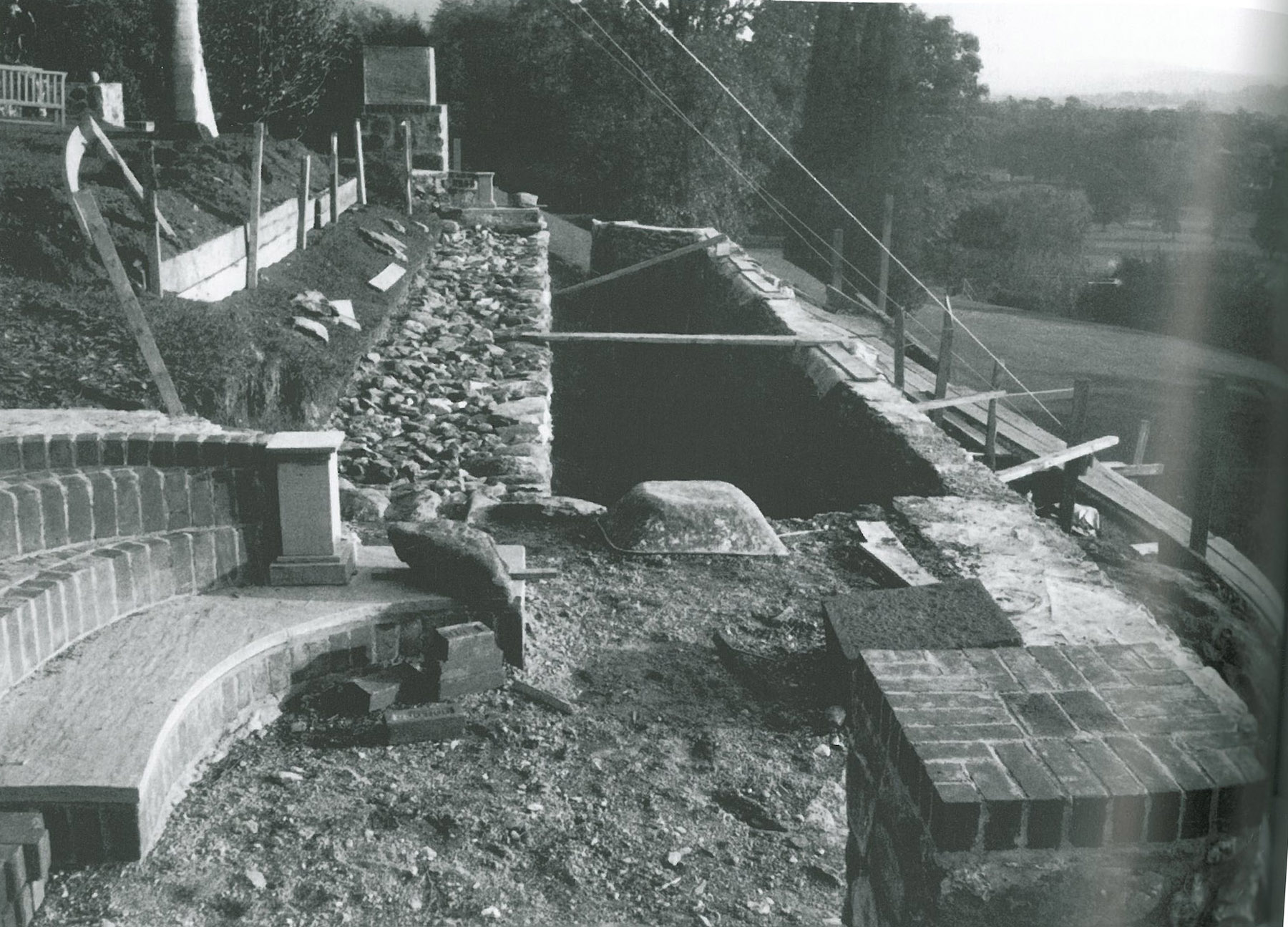 Photo taken as the fieldstone terraces of the Peony Terrace--at the Southwest end of the Top Lawn--were being constructed. Image courtesy of FLETCHER STEELE, LANDSCAPE ARCHITECT, by Robin Karson