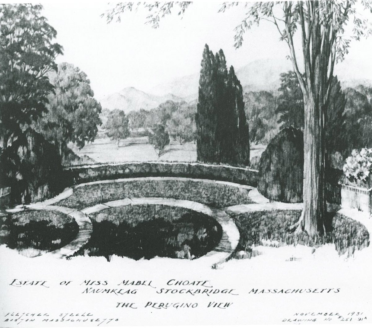 Henry Hoover's drawing of The Perugino View. Image courtesy of FLETCHER STEELE, LANDSCAPE ARCHITECT, by Robin Karson.