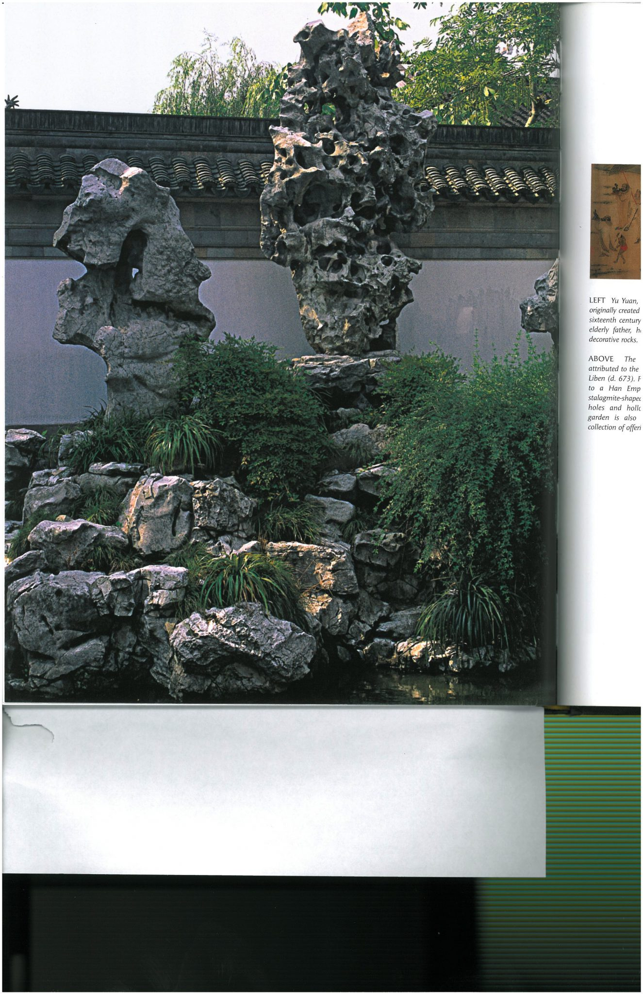 Typical decorative use of large rocks; these in China's Yu Garden, which was built in the 16th century. Image courtesy of THE CHINESE GARDEN, by Maggie Keswick.