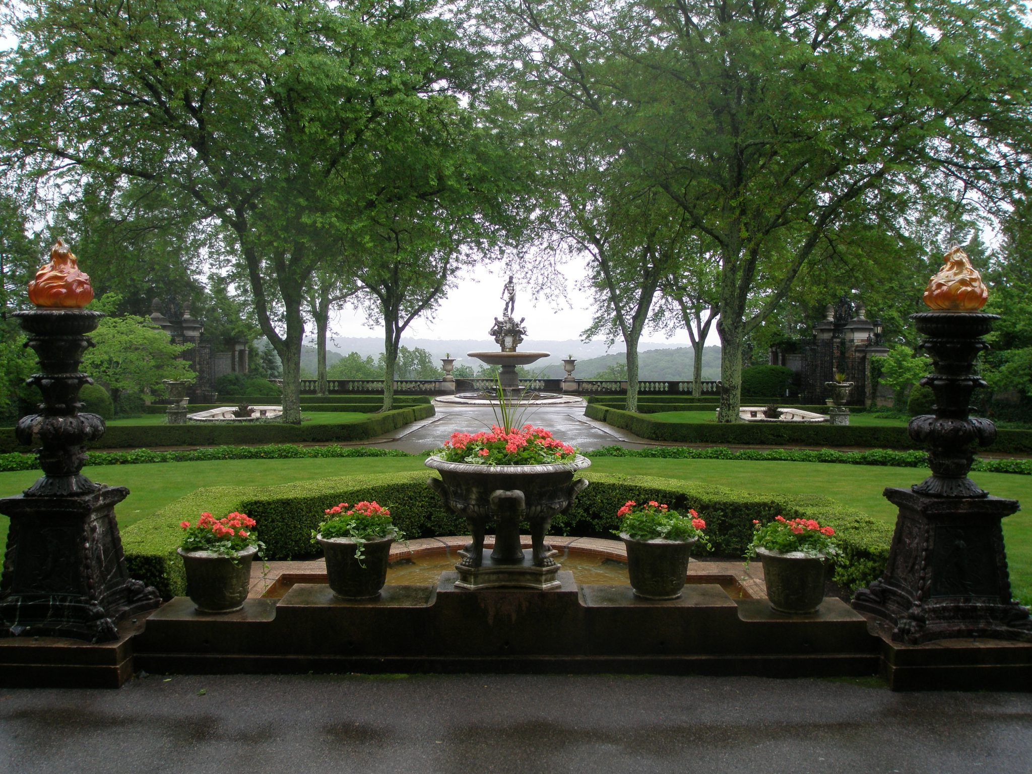 Kykuit: The Rockefeller family home. Entrance Forecourt, with the Oceanus Fountain, on a rainy morning in June.