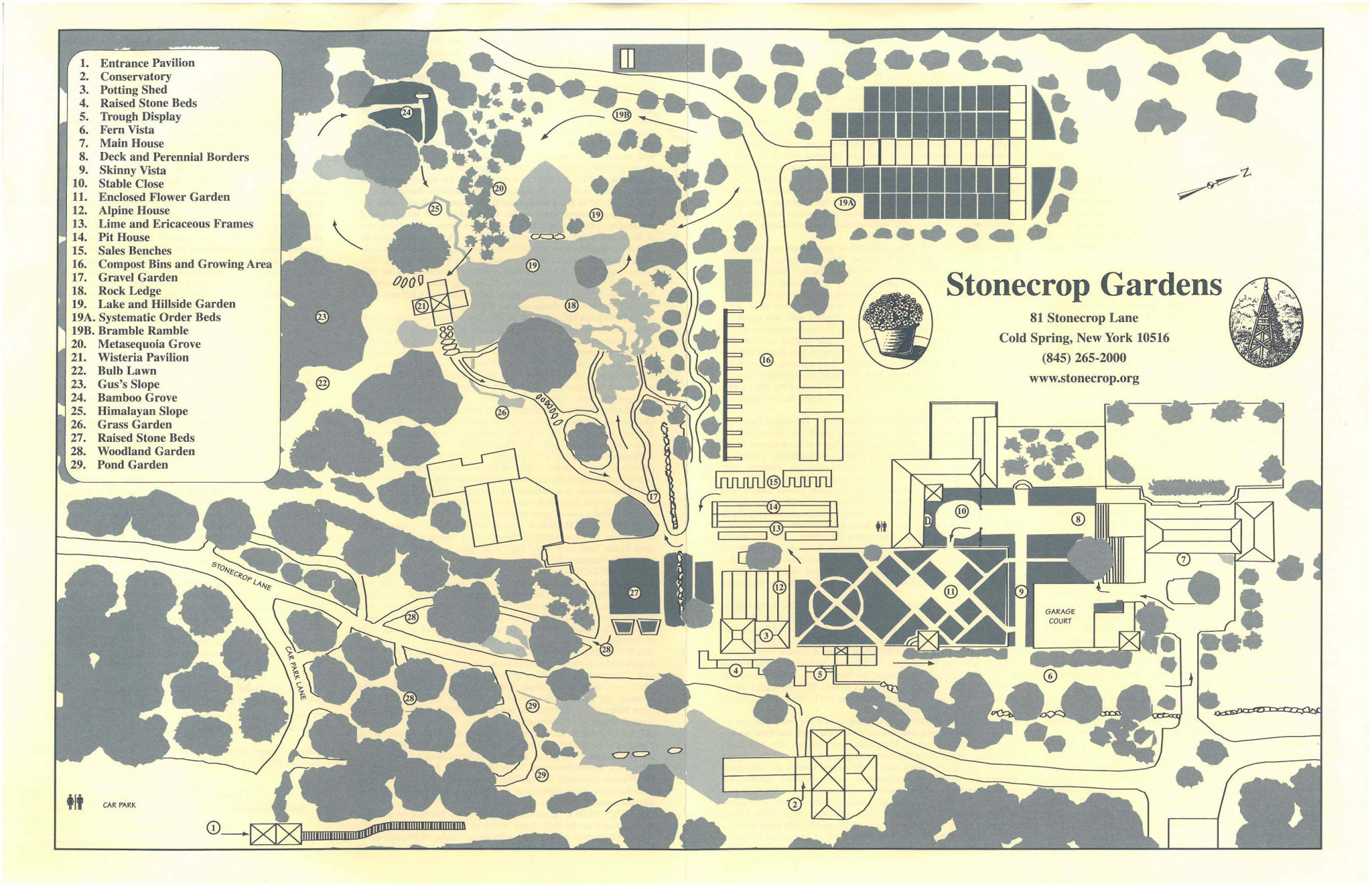Map of Stonecrop Gardens, in Cold Spring, New York.