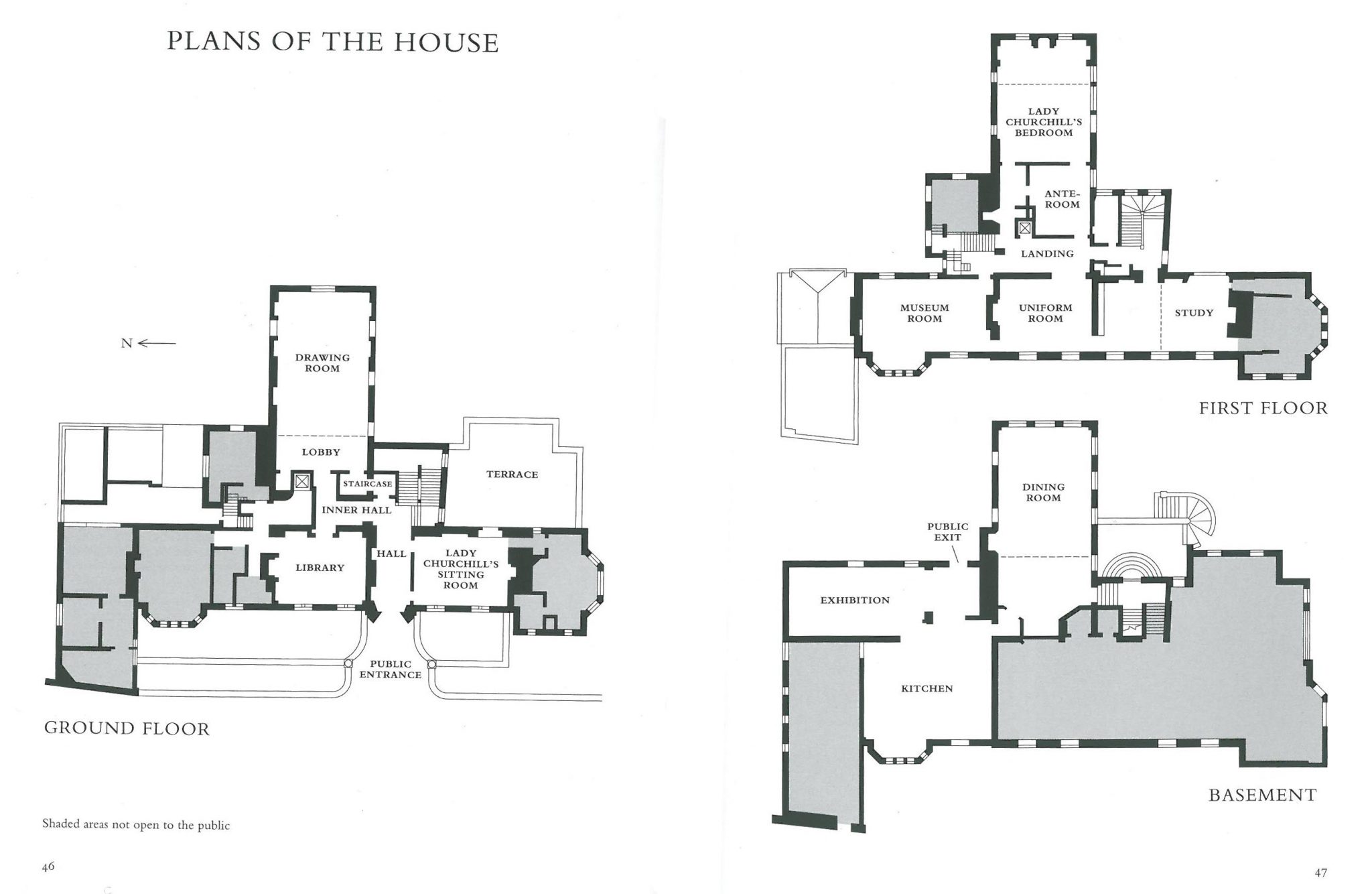Chartwell: Plans of the House. Visitors are not allowed to take photos of the interiors, which are decorated in a comfy and low-keyed manner. After Winston's death in 1965, Clementine gave the House to The National Trust, with the furnishings of its principal rooms virtually intact. She also bequeathed a collection of about 60 of Winston's own paintings to the Trust. Image courtesy of The National Trust.