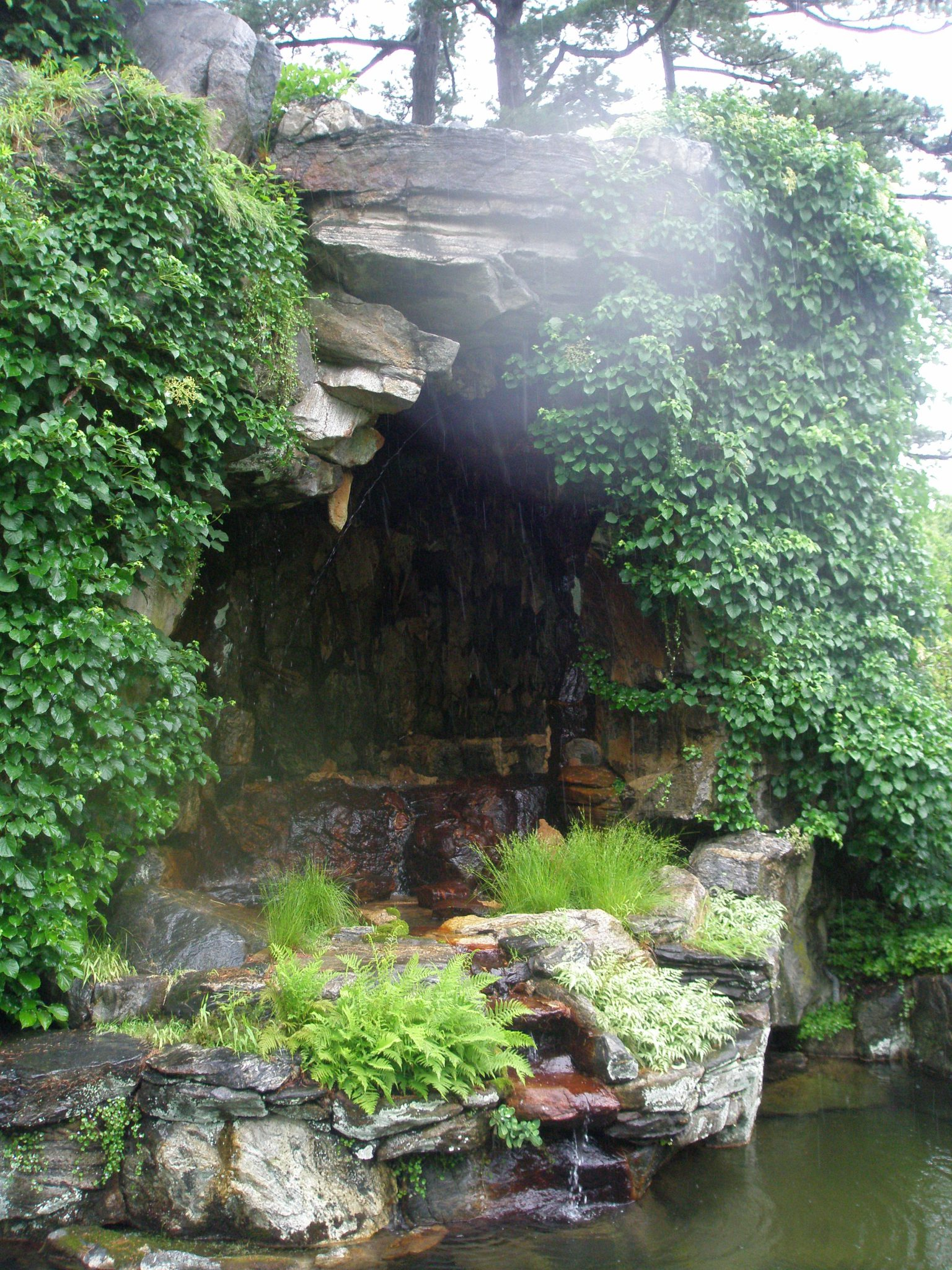 Grotto and Waterfall in the Brook Garden