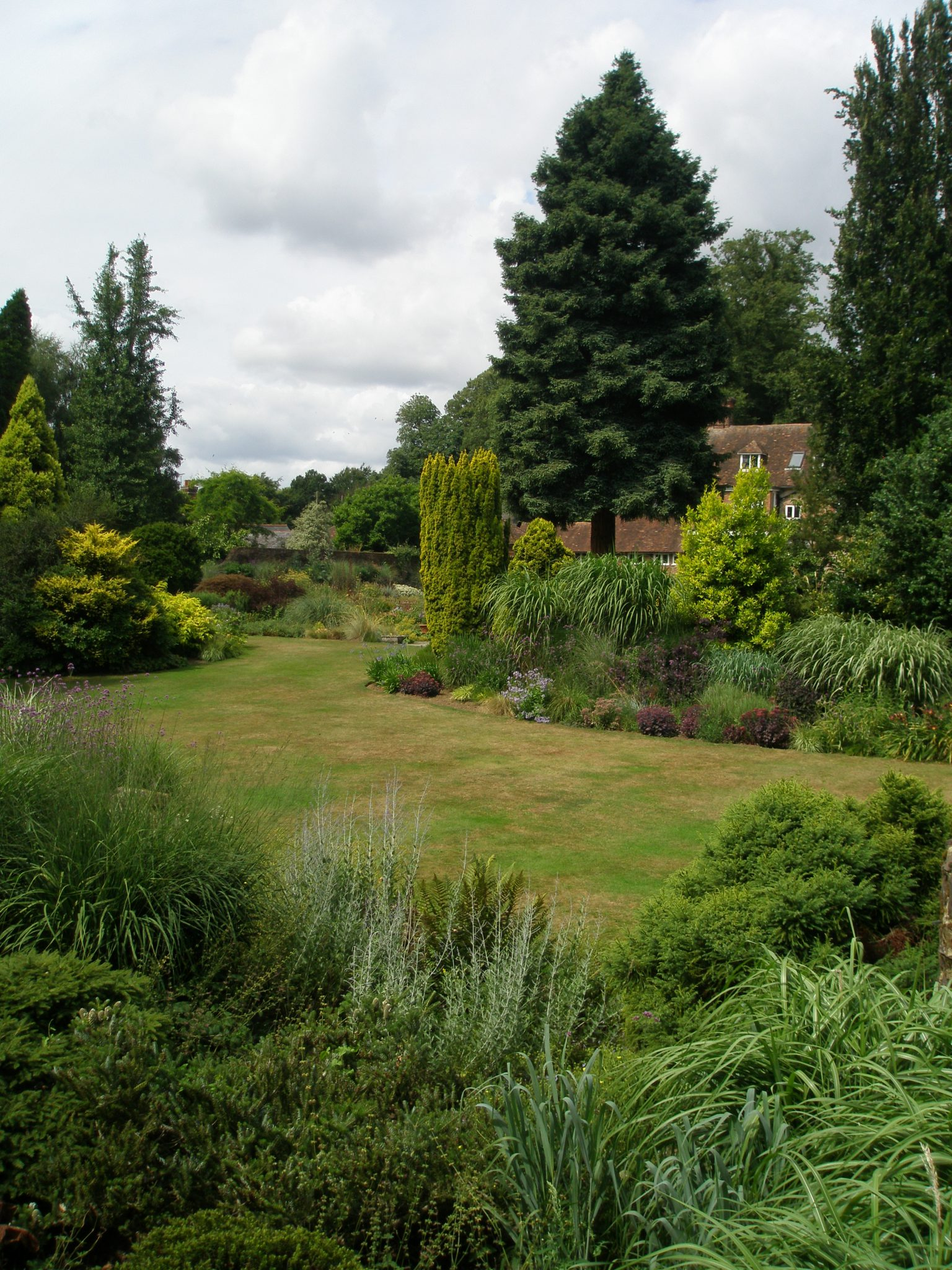 View from atop the Tower, over Crescent Lawn, toward the back of the House
