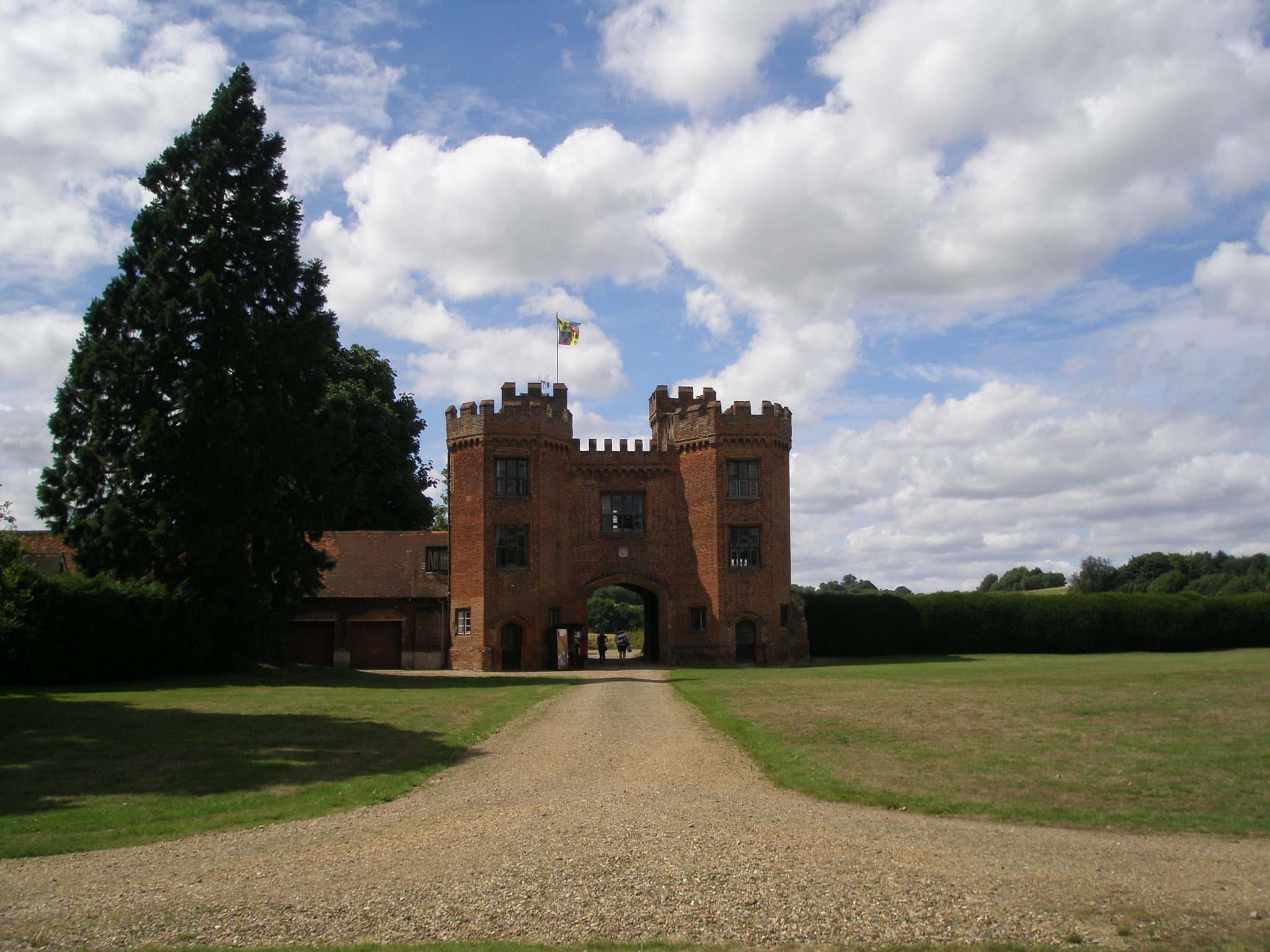 The Gate House (built in 1497), as seen from the inner lawn. On these extensive lawns the earliest rules for Lawn Tennis were drawn up, in 1873.