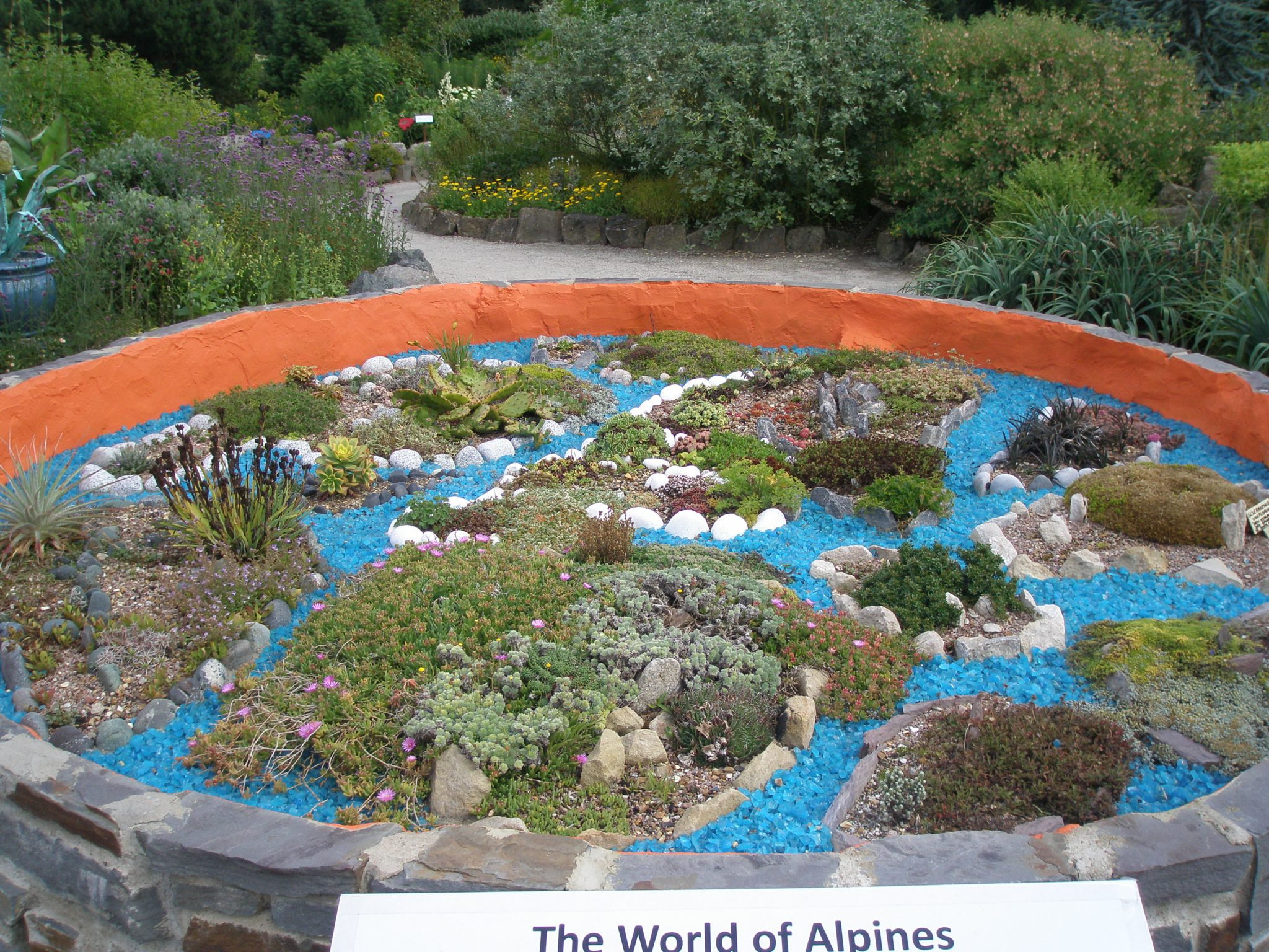 At the entry to The World Garden is an even smaller World Garden; this one mapped out with Alpine Plants