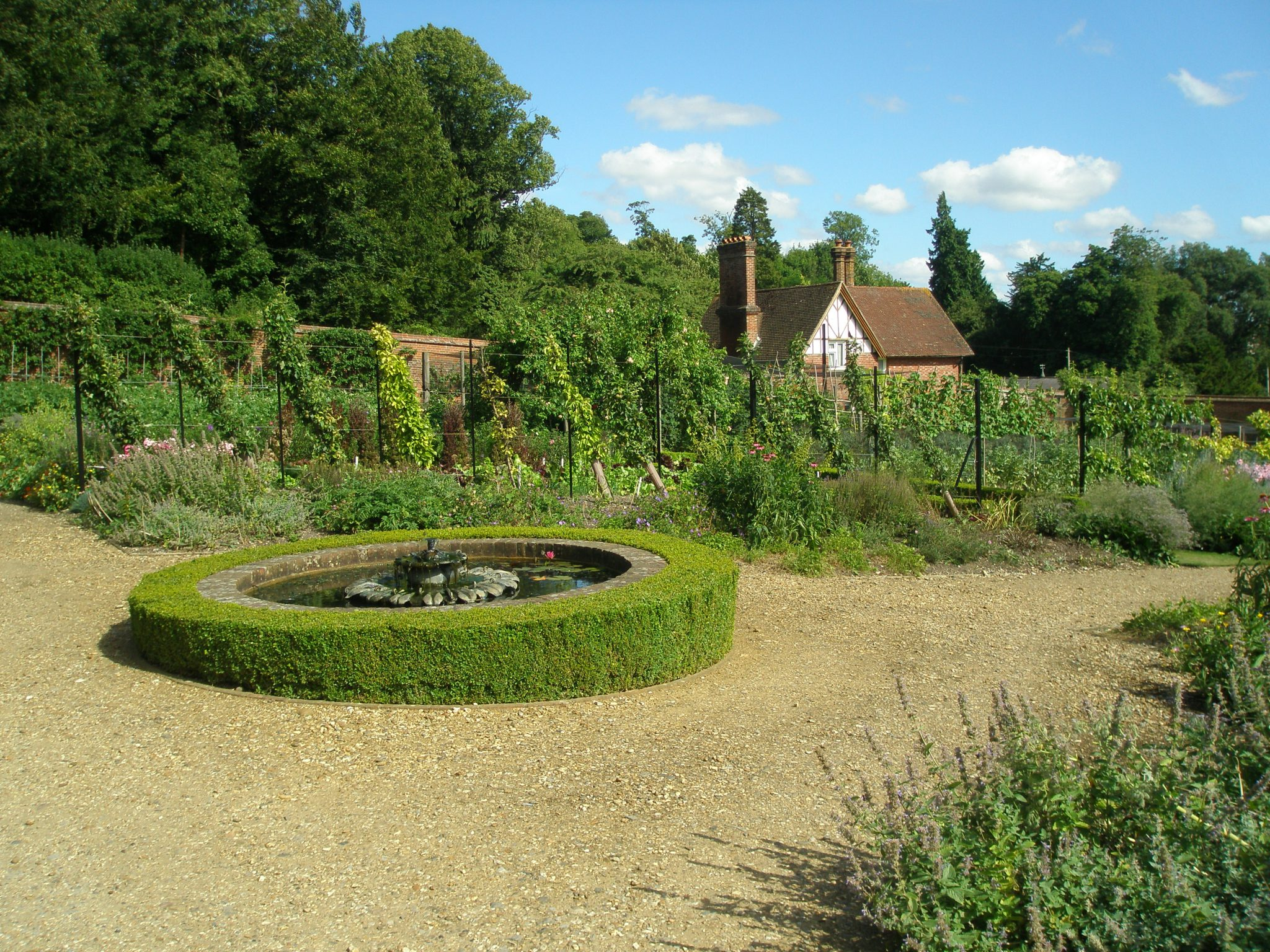 You can see from the contours of the box hedge how sloped the Walled Garden is.