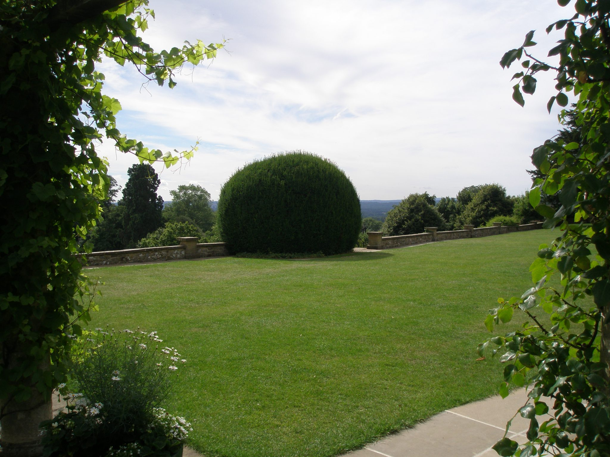 Just south of the Pergola and Marlborough Pavilion is the Terrace Lawn. From this lawn one can enjoy the long view south, over the Weald of Kent. Churchill bought the House for this View.