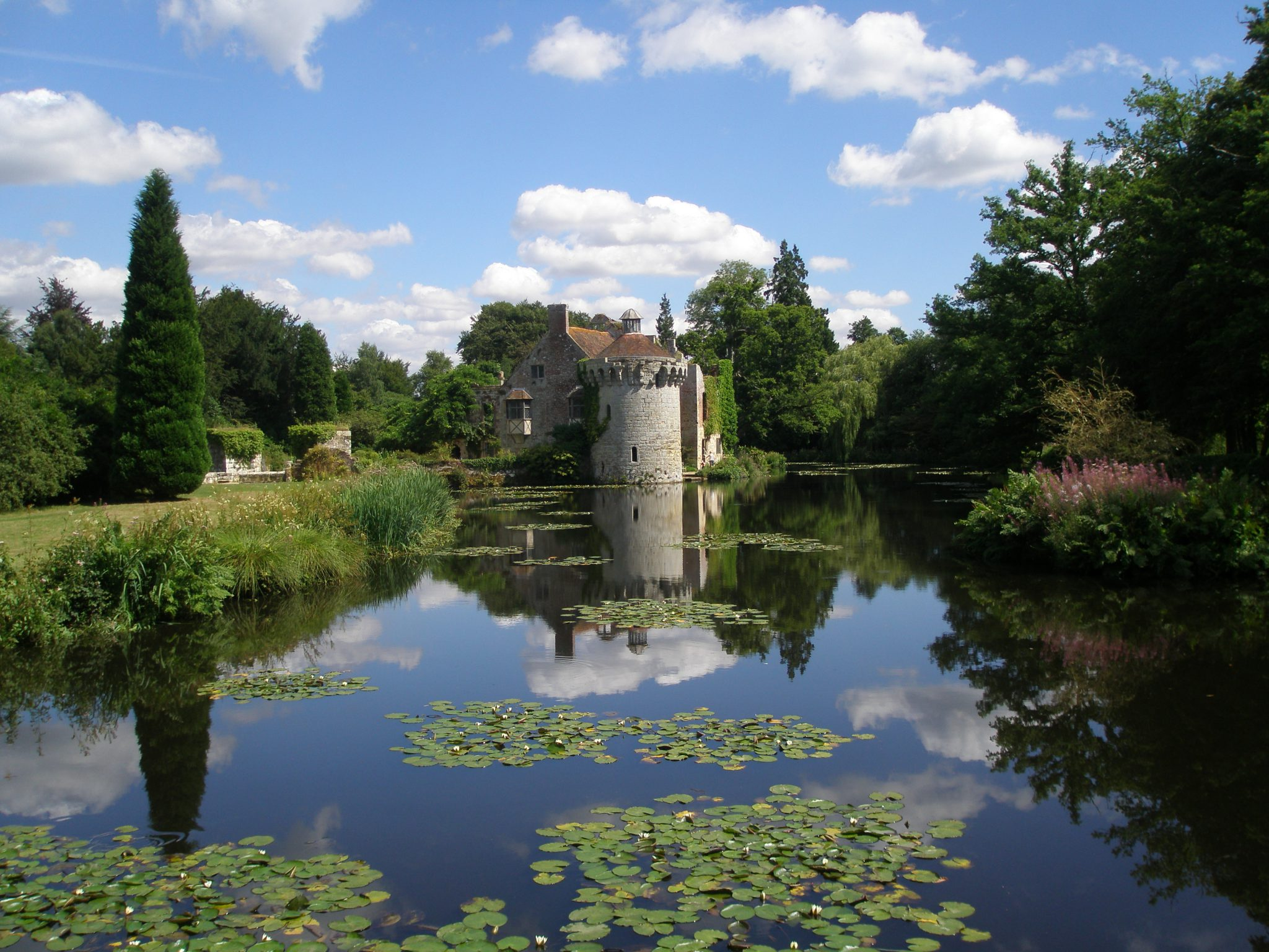 The circular, late 14th century tower at Scotney Castle, near Royal Tunbridge Wells, in Kent, England. I took this photo on August 6, 2013.""