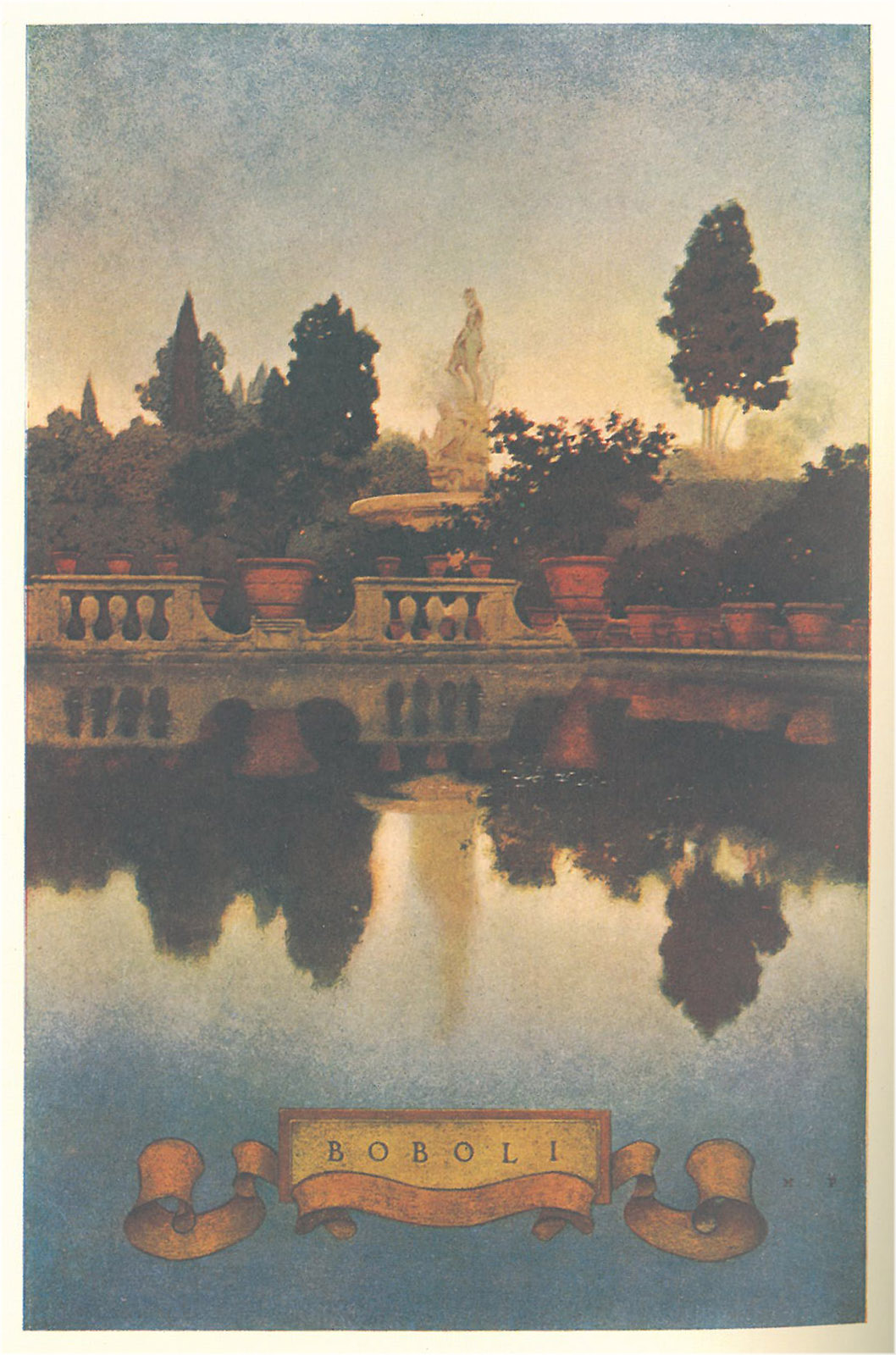 Maxfield Parrish's illustration of the Oceanus Fountain in the Boboli Gardens. This image taken from my own copy of Edith Wharton's ITALIAN VILLAS AND THEIR GARDENS