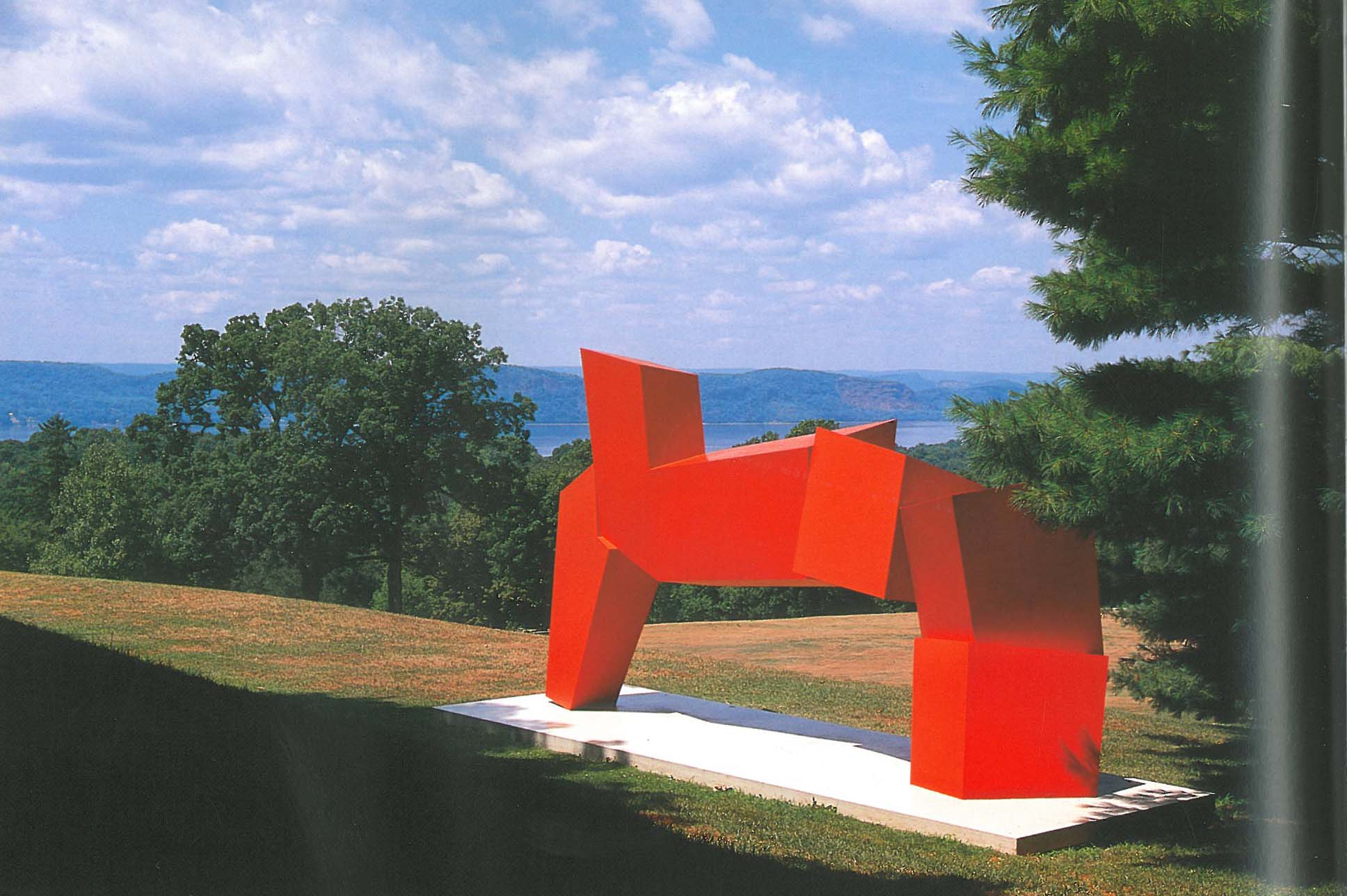 "What James Rosati's sculpture looks like on a sunny day...along with a spectacular view of the Hudson River. Image courtesy of ""The Rockefeller Family Home: Kykuit,"" by Anne Rockefeller Roberts."
