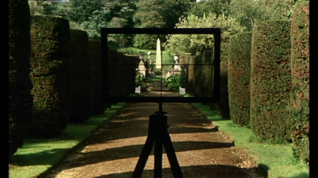 Scene from the film THE DRAUGHTSMAN'S CONTRACT. The Artist has set up this frame, to help with his perspective drawing. Image courtesy of Peter Greenaway.