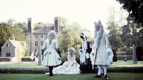 Scene from the film THE DRAUGHTSMAN'S CONTRACT, with actors on the Draughtsman Lawn. Image courtesy of Peter Greenaway.
