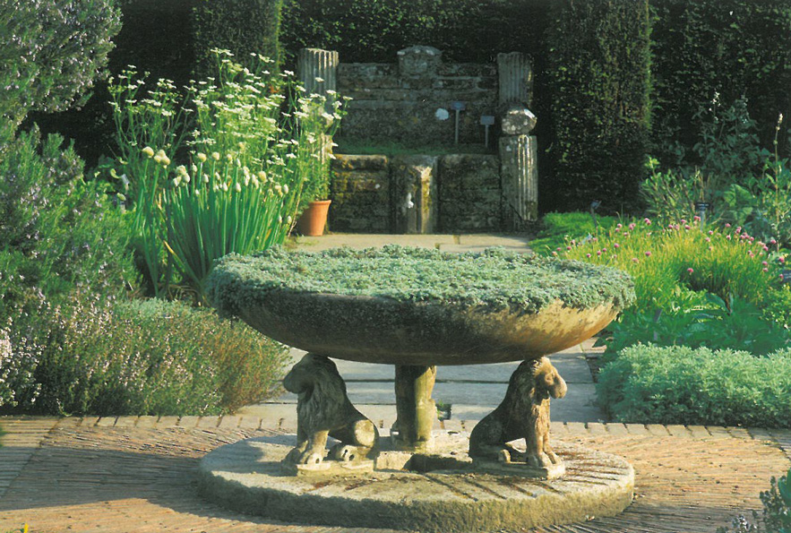The Herb Garden's Byzantine Bowl, and Chamomile Bench. Image courtesy of The National Trust.
