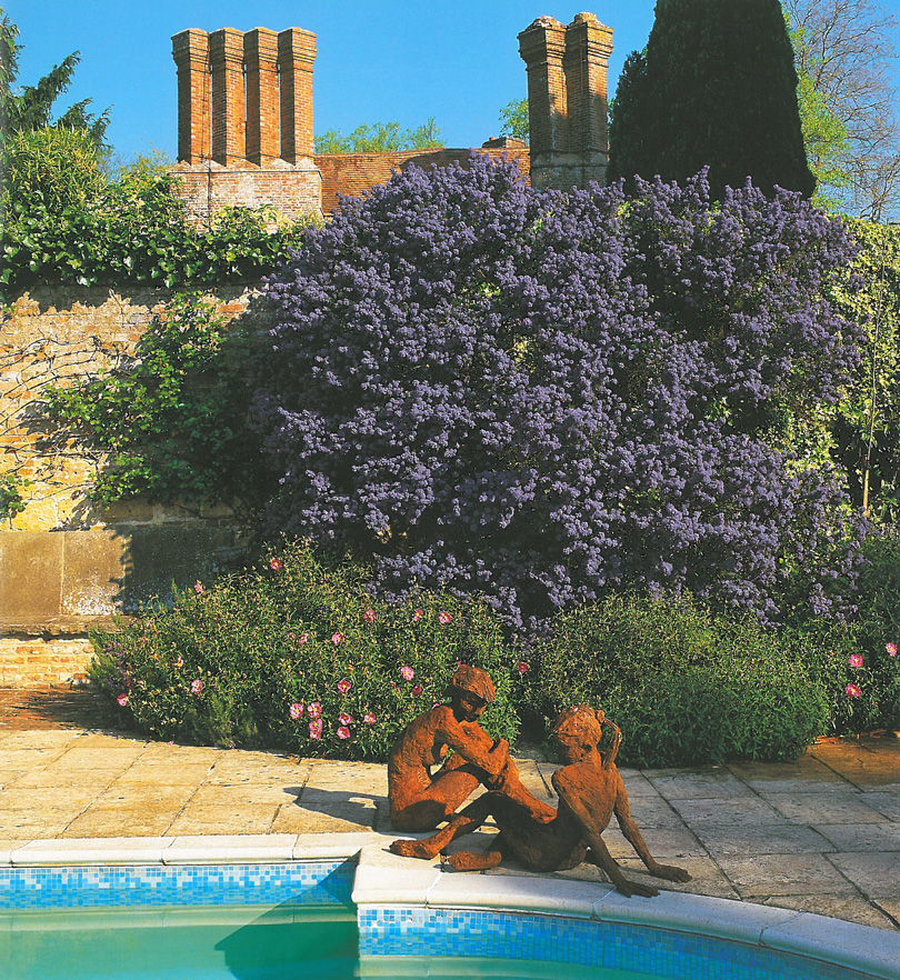 In the Pool Garden, yet another sculpture, this one by Kate Denton. Billowing against the brick of one of the original Elizabethan-era walls is a huge shrub: Ceanothus 'Puget Blue,' which is evergreen, and in early summer bursts into bloom with thousands of royal blue flowers. Image courtesy of Pashley Manor.