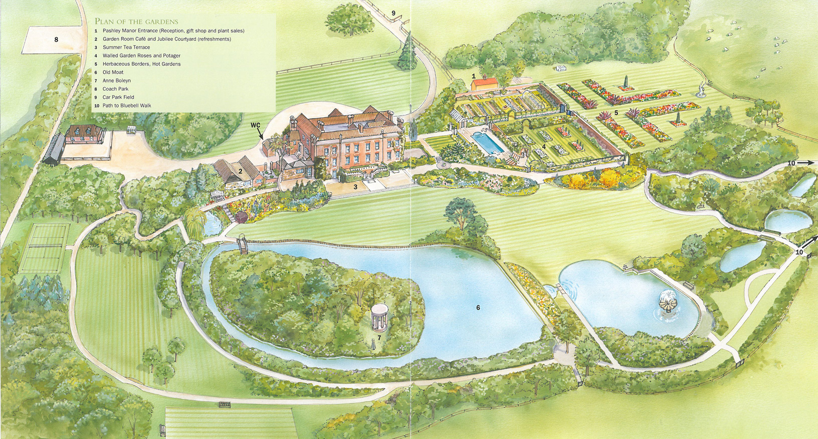 Plan of the Gardens at Pashley Manor. Image courtesy of Pashley Manor.