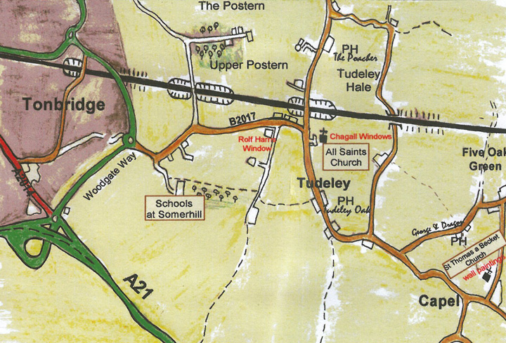 How to find All Saints Church in Tudeley, which, although near to Tonbridge, seems worlds and years apart.