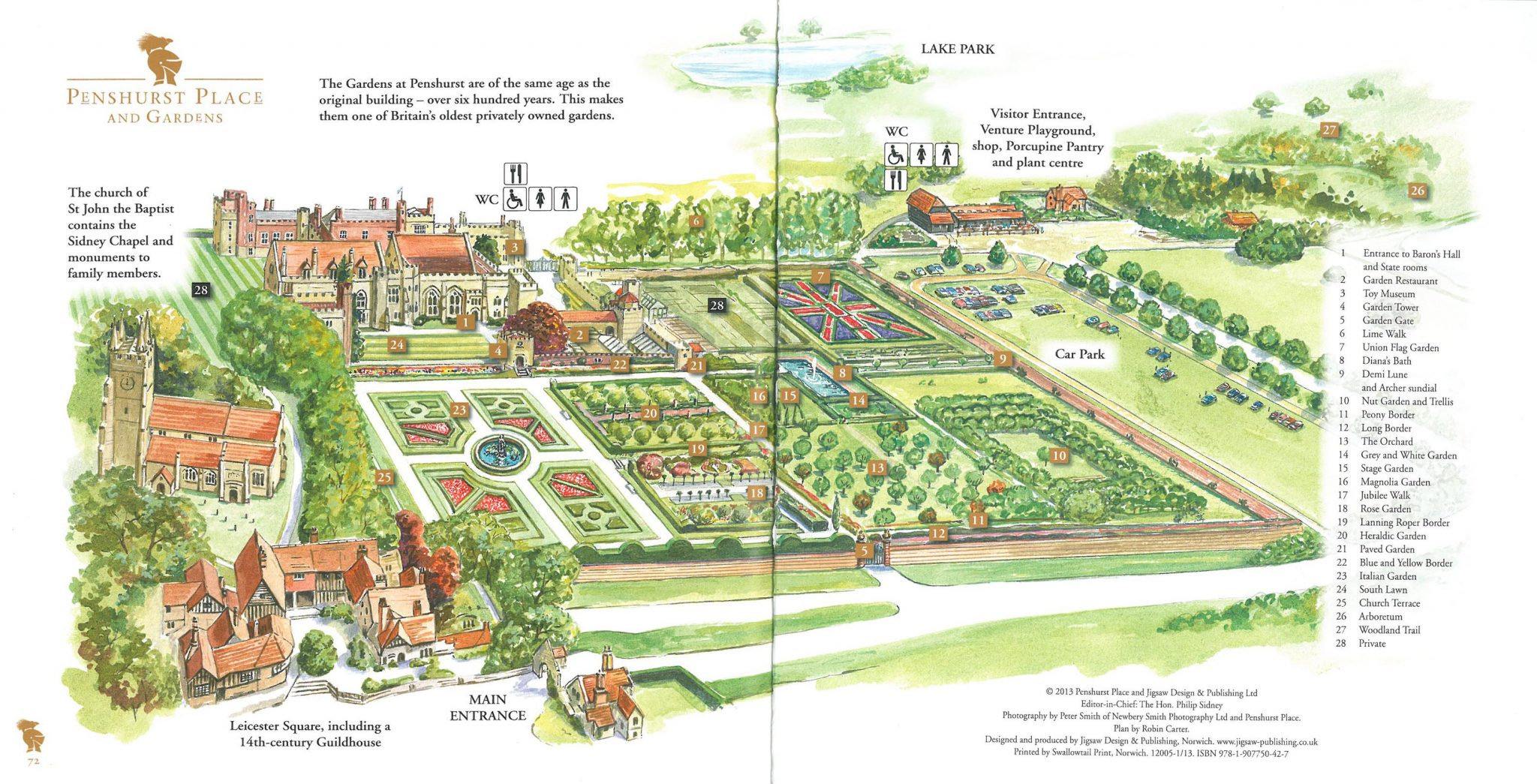 Layout of Penshurst Place & Gardens.