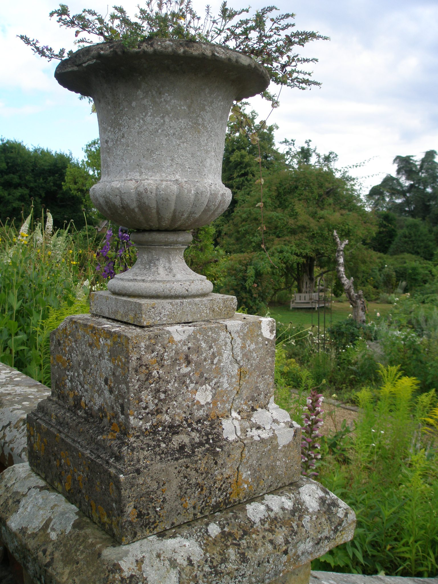 Urn on the balustrade of the White Rose Garden
